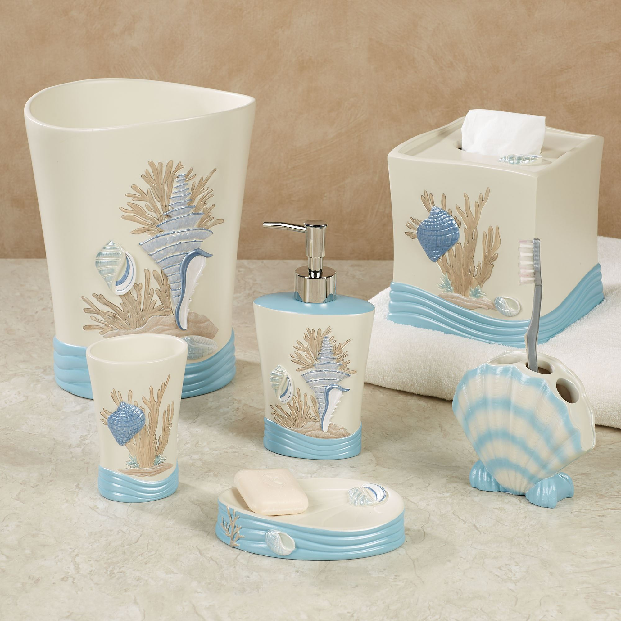 Beach walk coastal bath accessories for Sea bathroom set