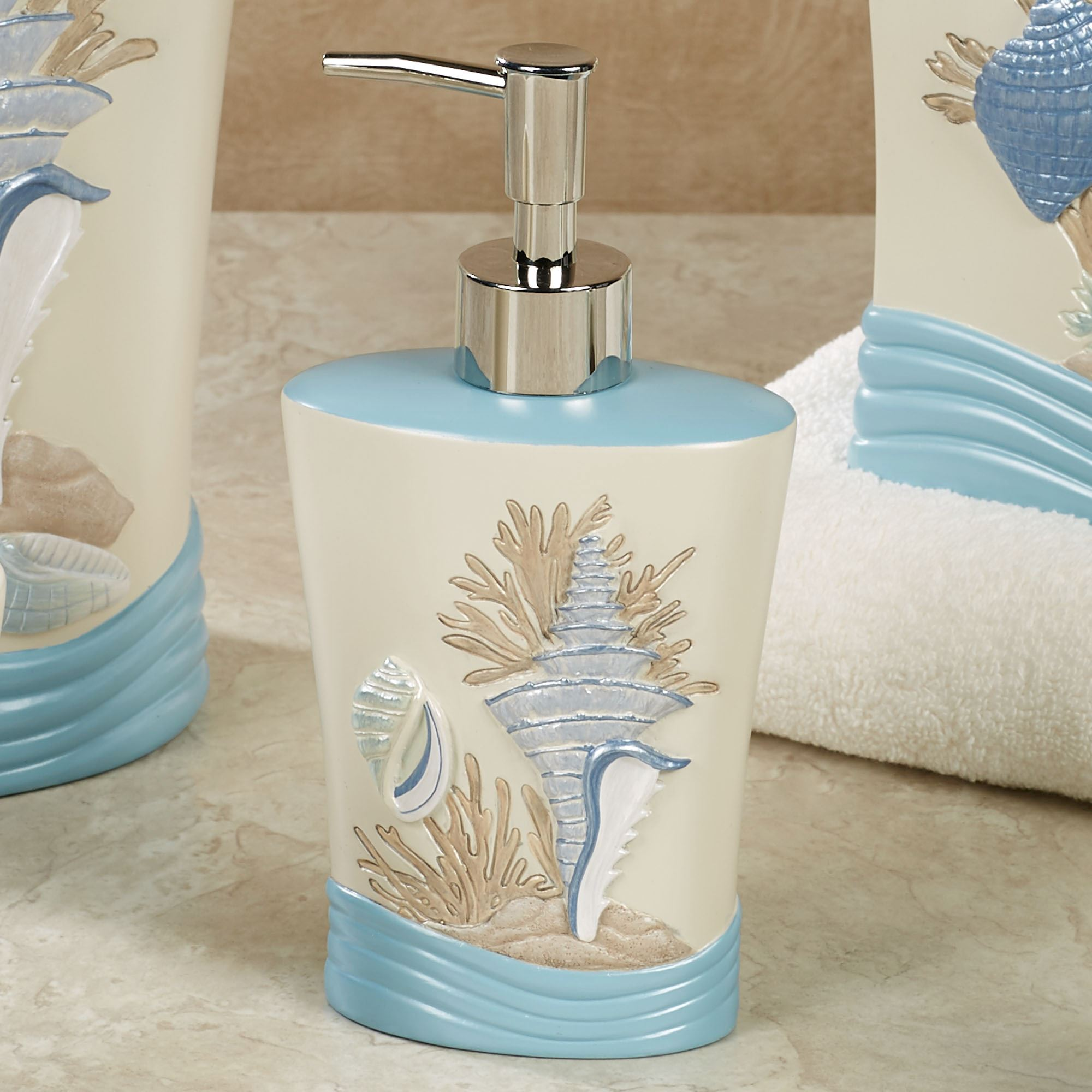 Beach walk coastal bath accessories for Cream bathroom accessories