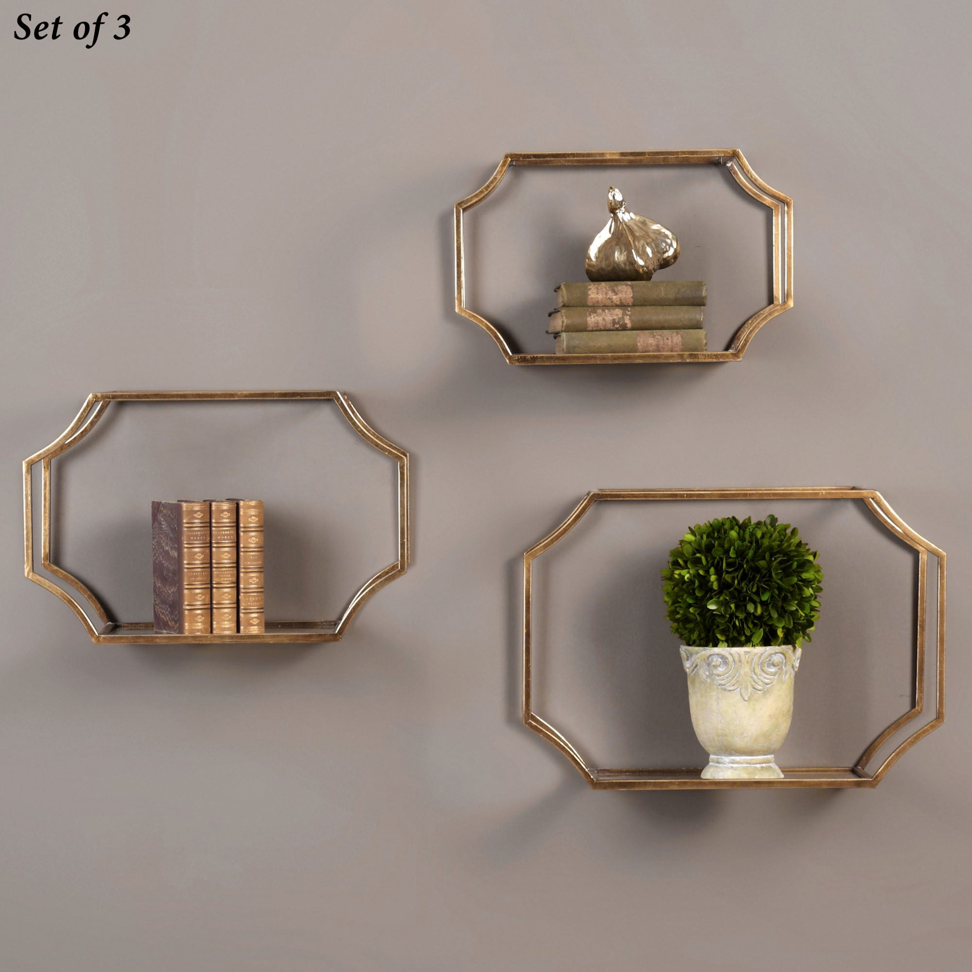 Decorative wall shelves touch of class lindee wall shelves gold set of three amipublicfo Images