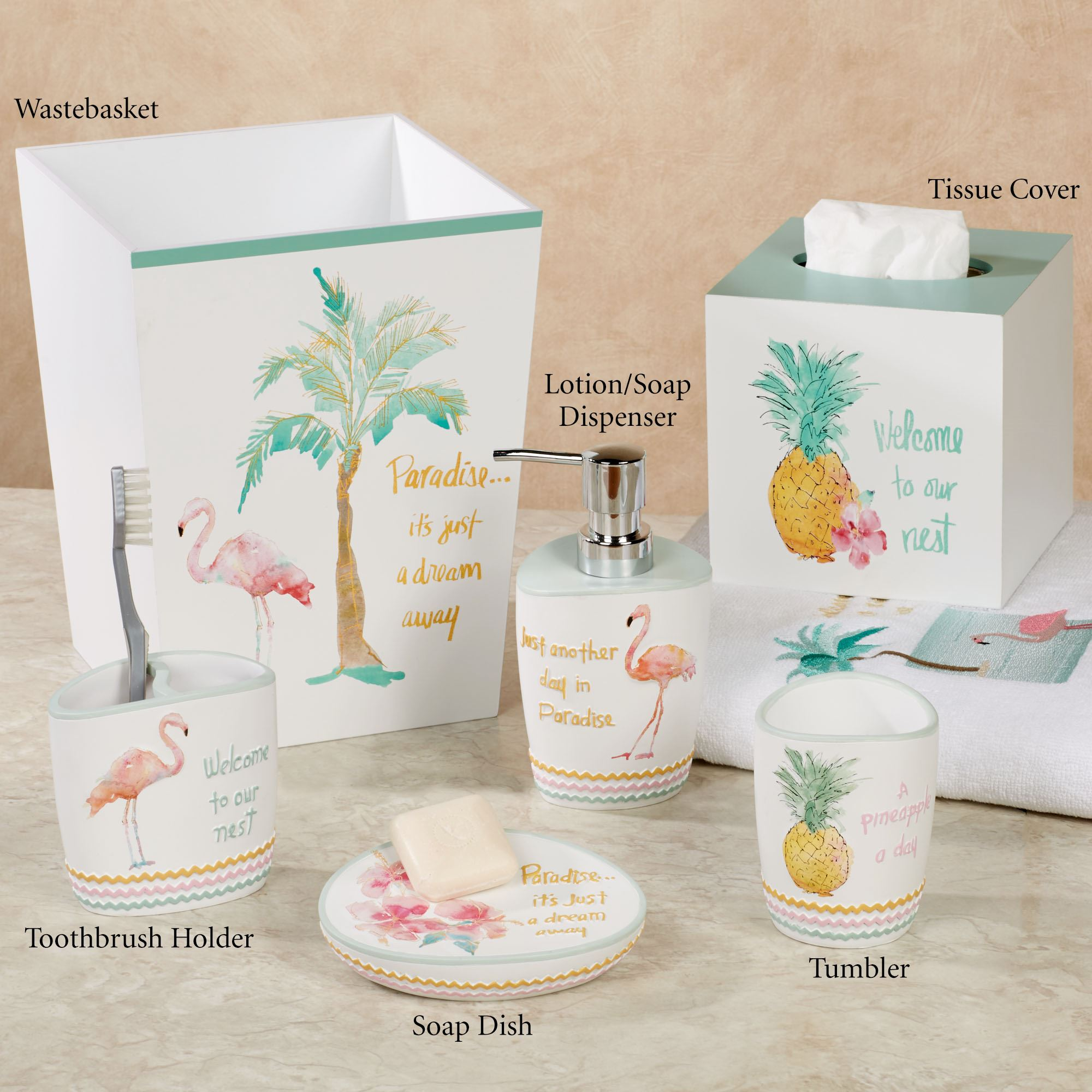 Well known Flamingo Fever Tropical Bath Accessories QX71