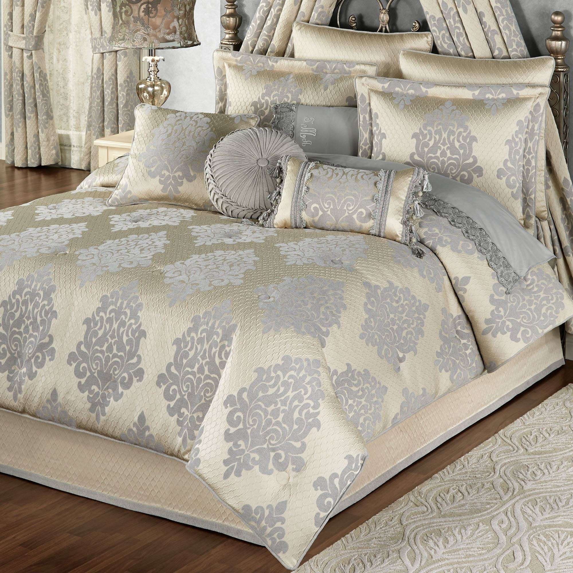 p ruched queen comforter fontana set bedding ivory oversized sets