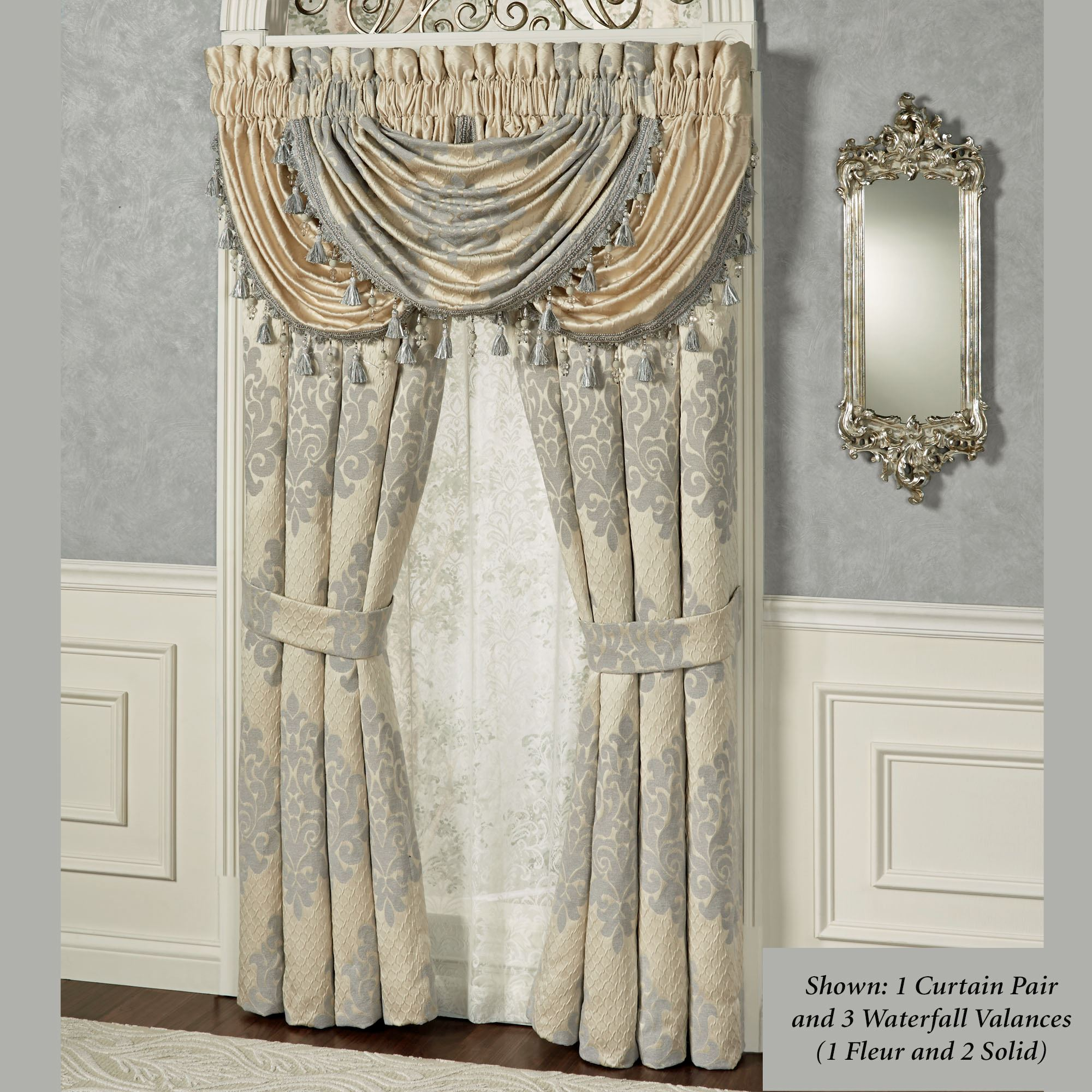 panel pocket single valance s itm rod or soho silk waterfall valances faux ebay