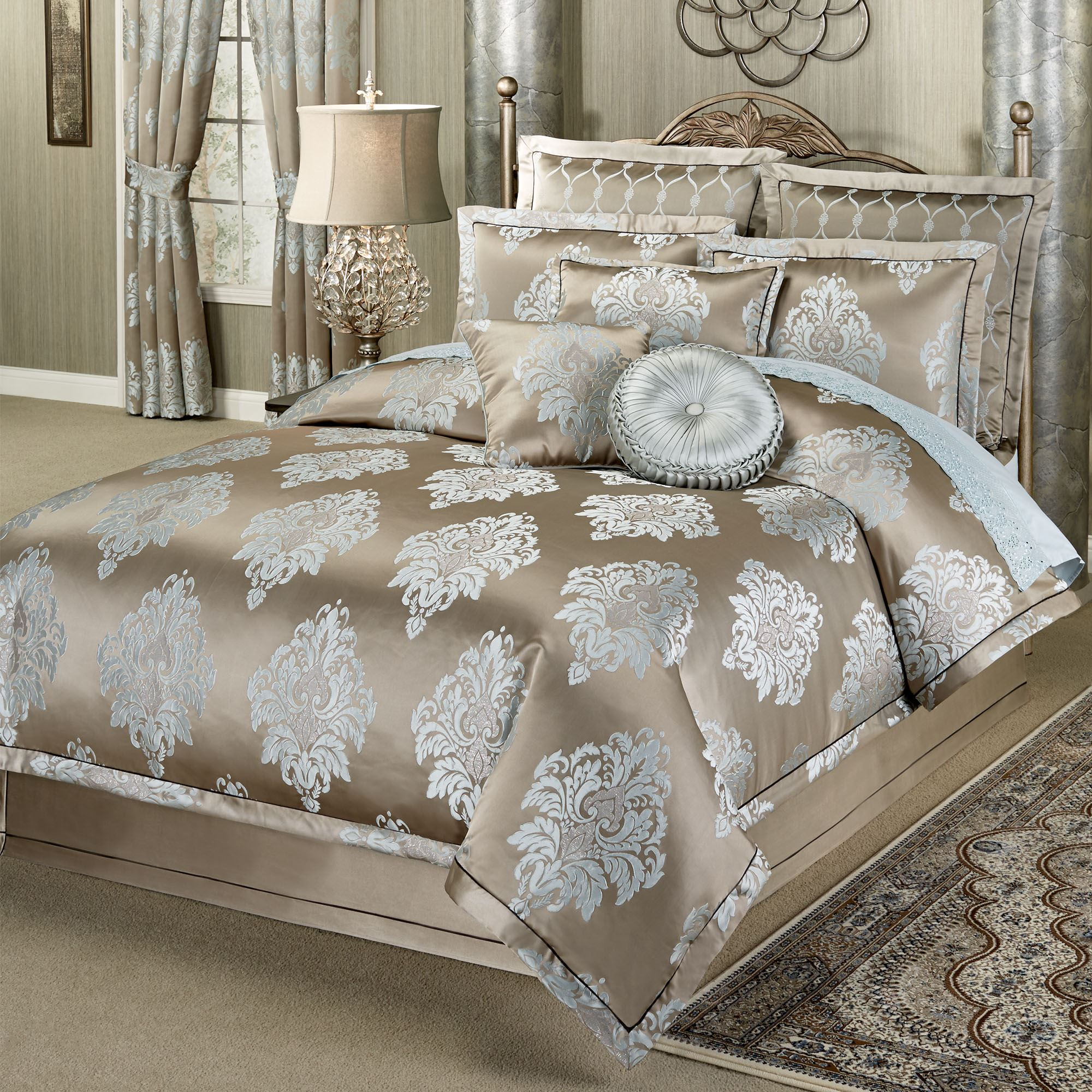 flanged with edges blue navy magnificent comforter europe beige upholstery pieced originalviews leather tone taupe sets color together crytal indiana shams headboard two tufting pillow twin embroidered queen