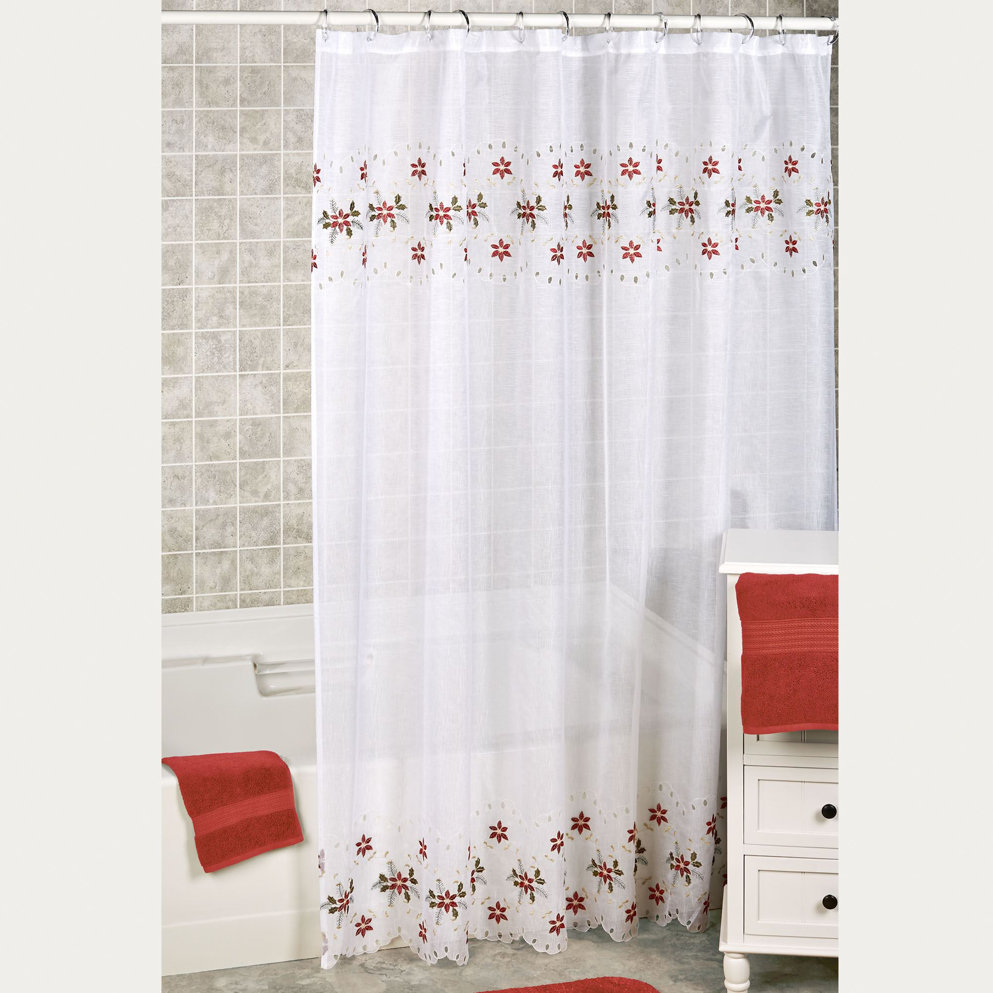 Poinsettia Semi Sheer Cutwork Holiday Shower Curtain