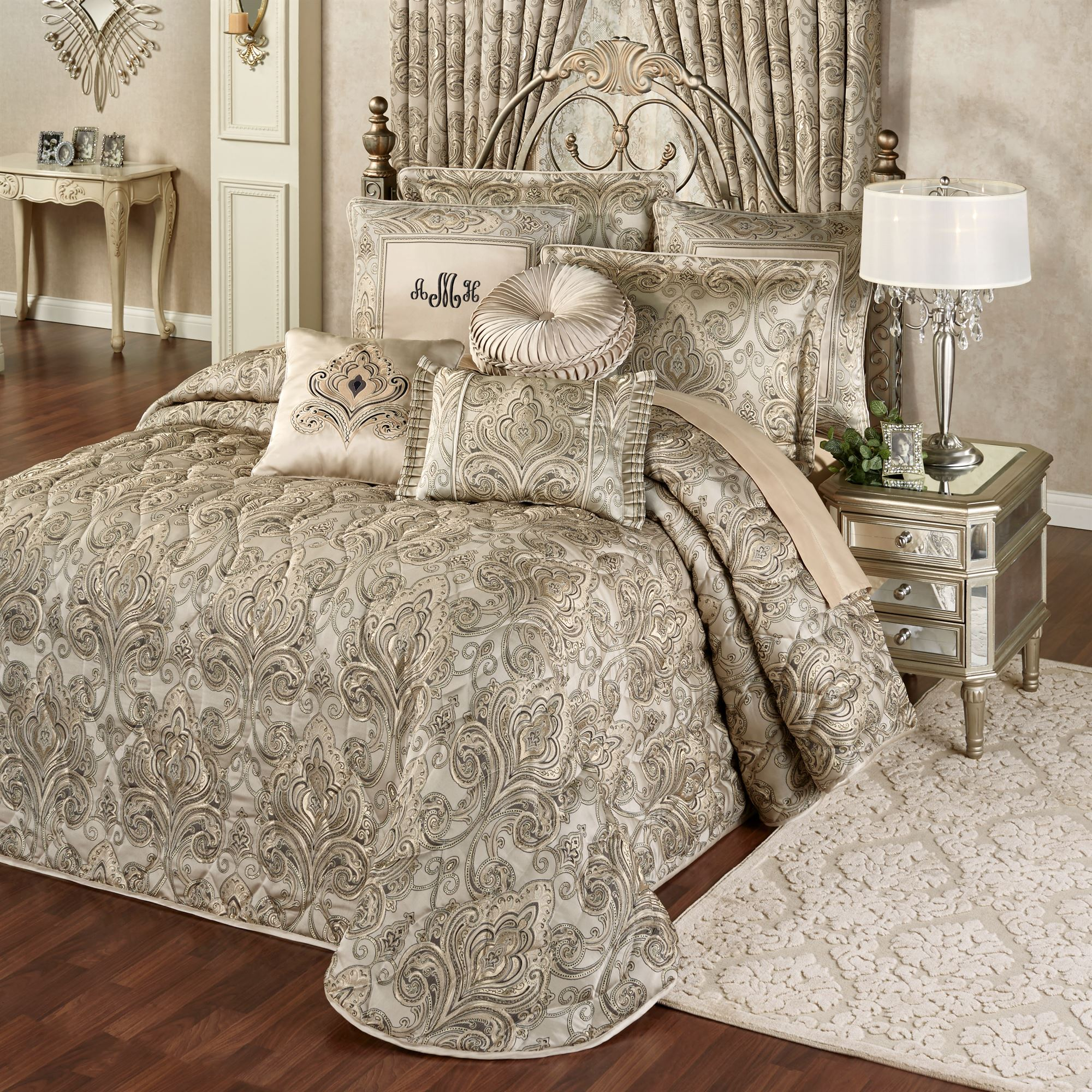 A Touch Of Class Home Decor Grandeur Fleur De Lis Damask Oversized Quilted Bedspread