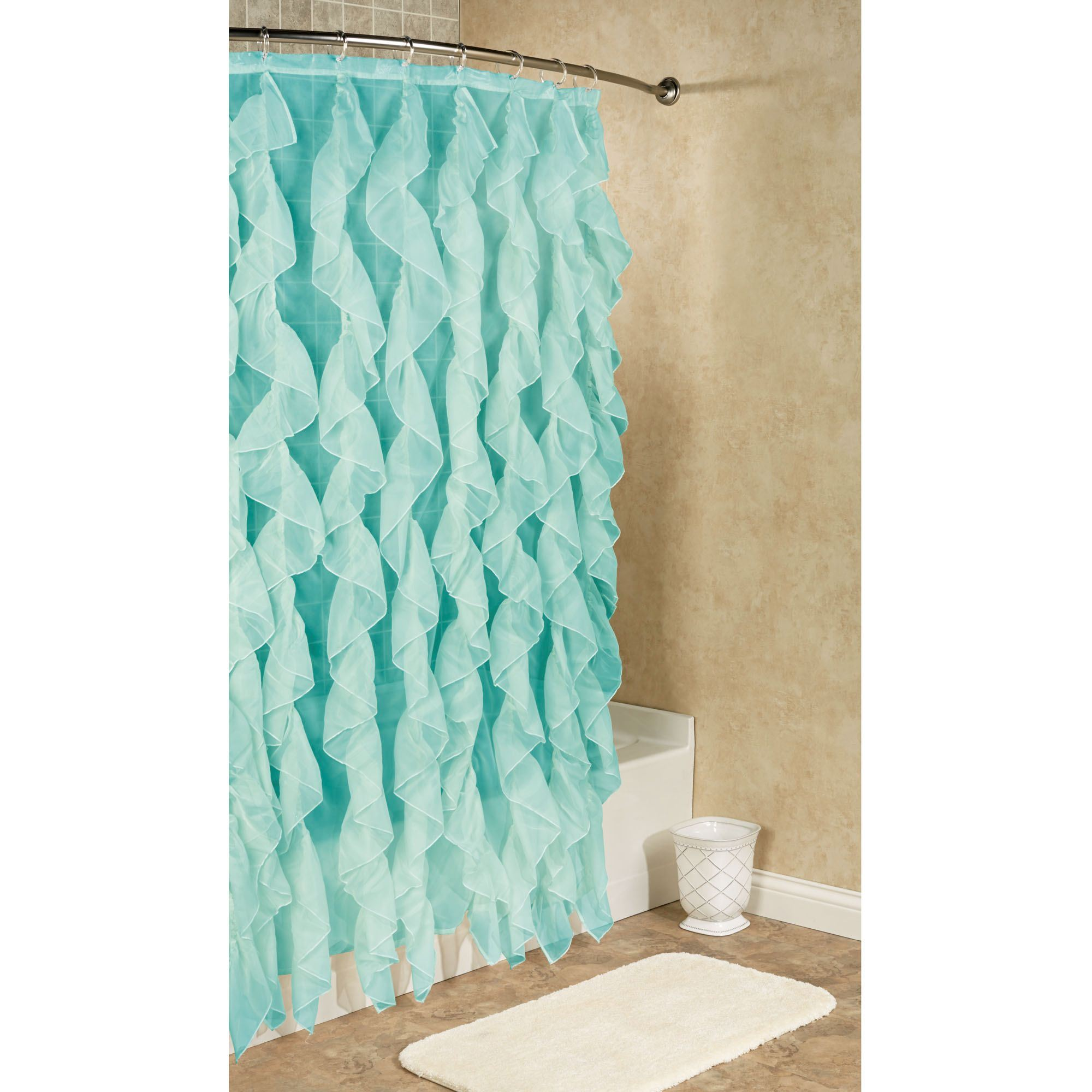 Turquoise And Coral Shower Curtain. Cascade Voile Shower Curtain 70 x 72 Ruffled