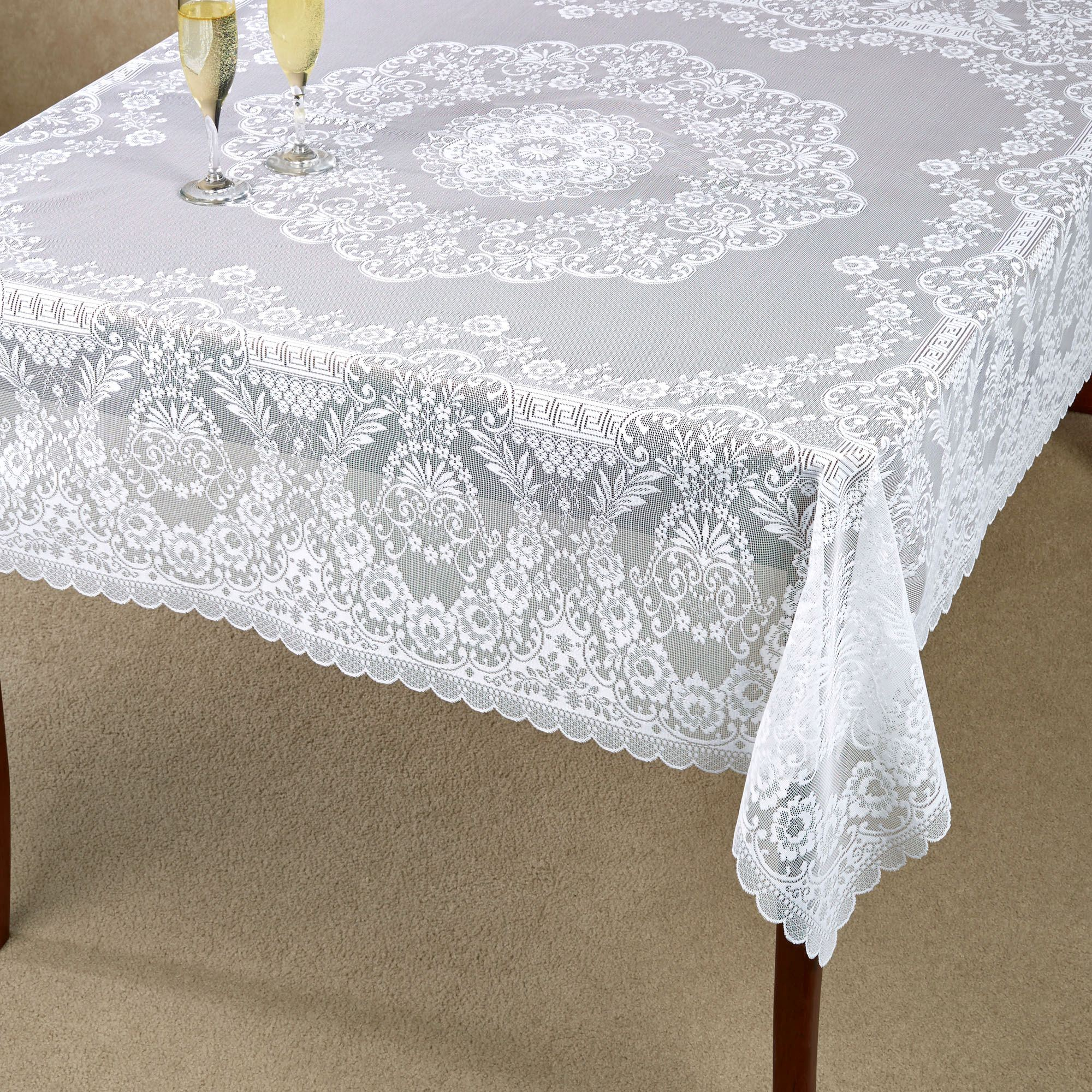 Delicieux Hadleigh Lace Square Tablecloth White 62 X 62