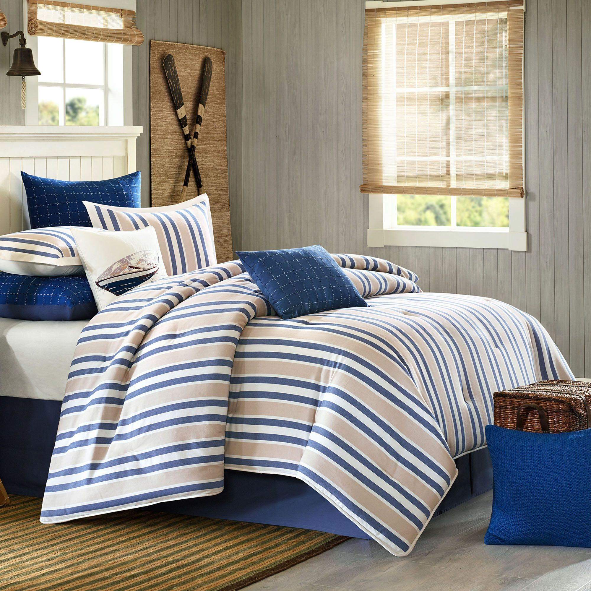 comforter grey comforters navy striped blue sets set bedding