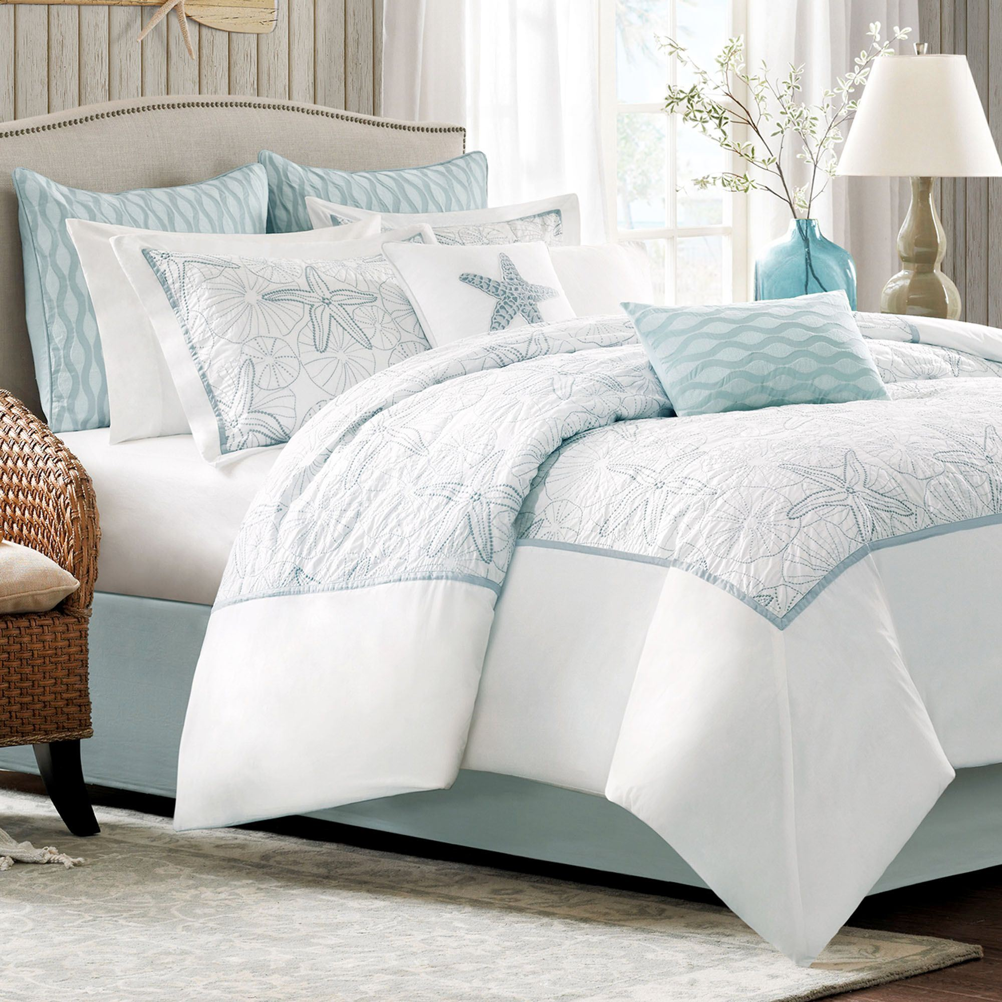 Maya bay embroidered coastal comforter bedding for Home designs comforter