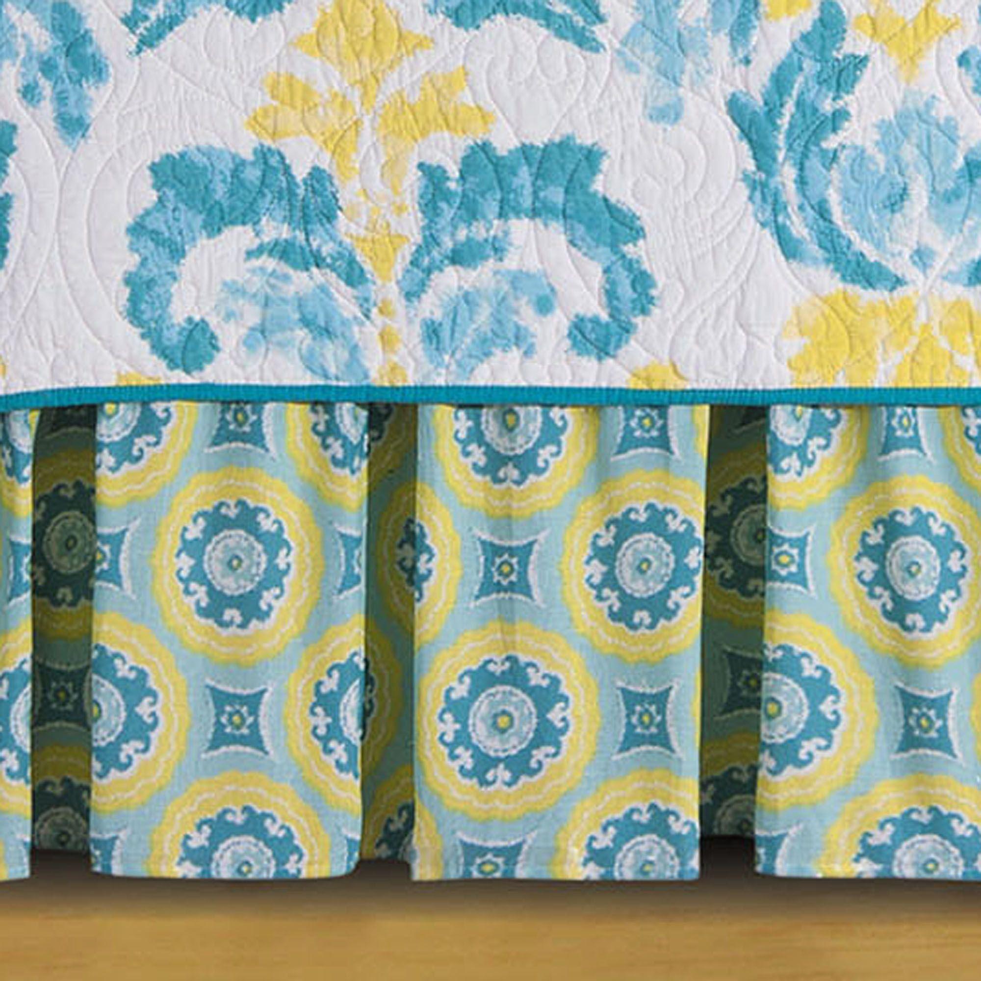 Delilah Blue Fleur de Lis Reversible Quilt