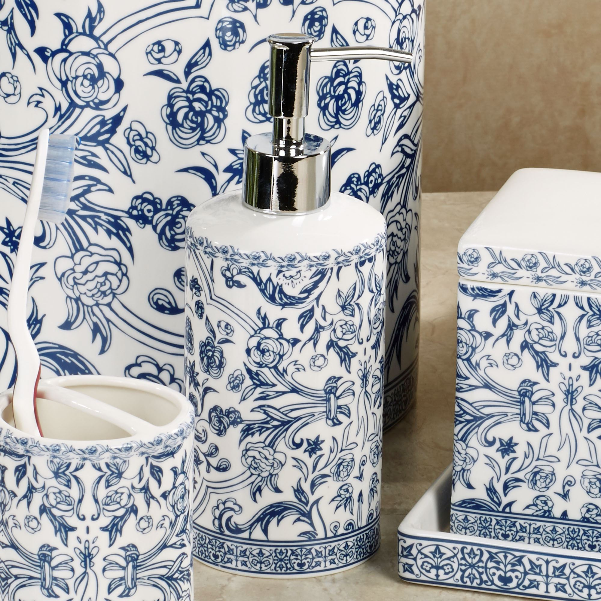 blue and white bathroom accessories orsay blue toile porcelain bath accessories 22794