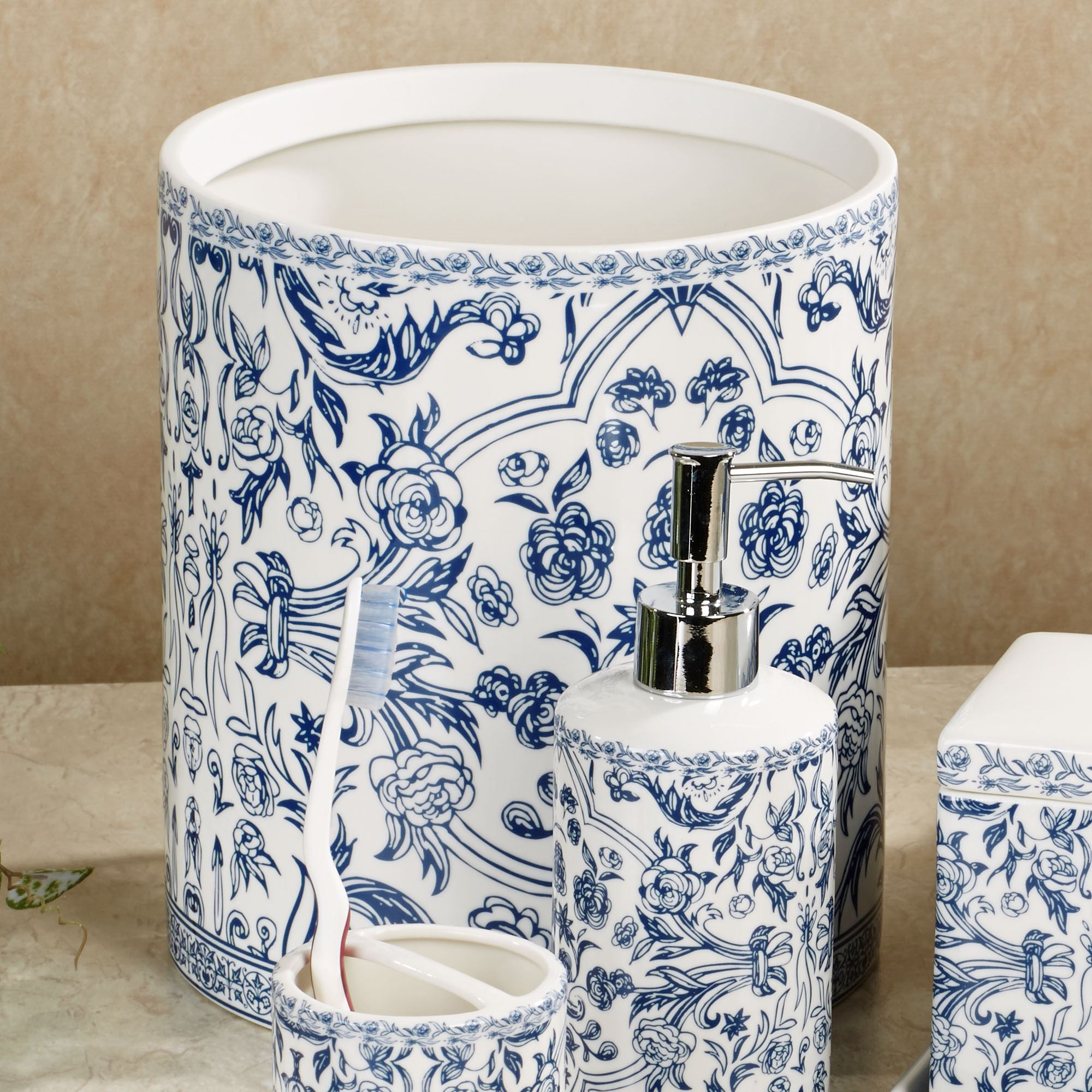 Orsay blue toile porcelain bath accessories for Blue and white bathroom decor