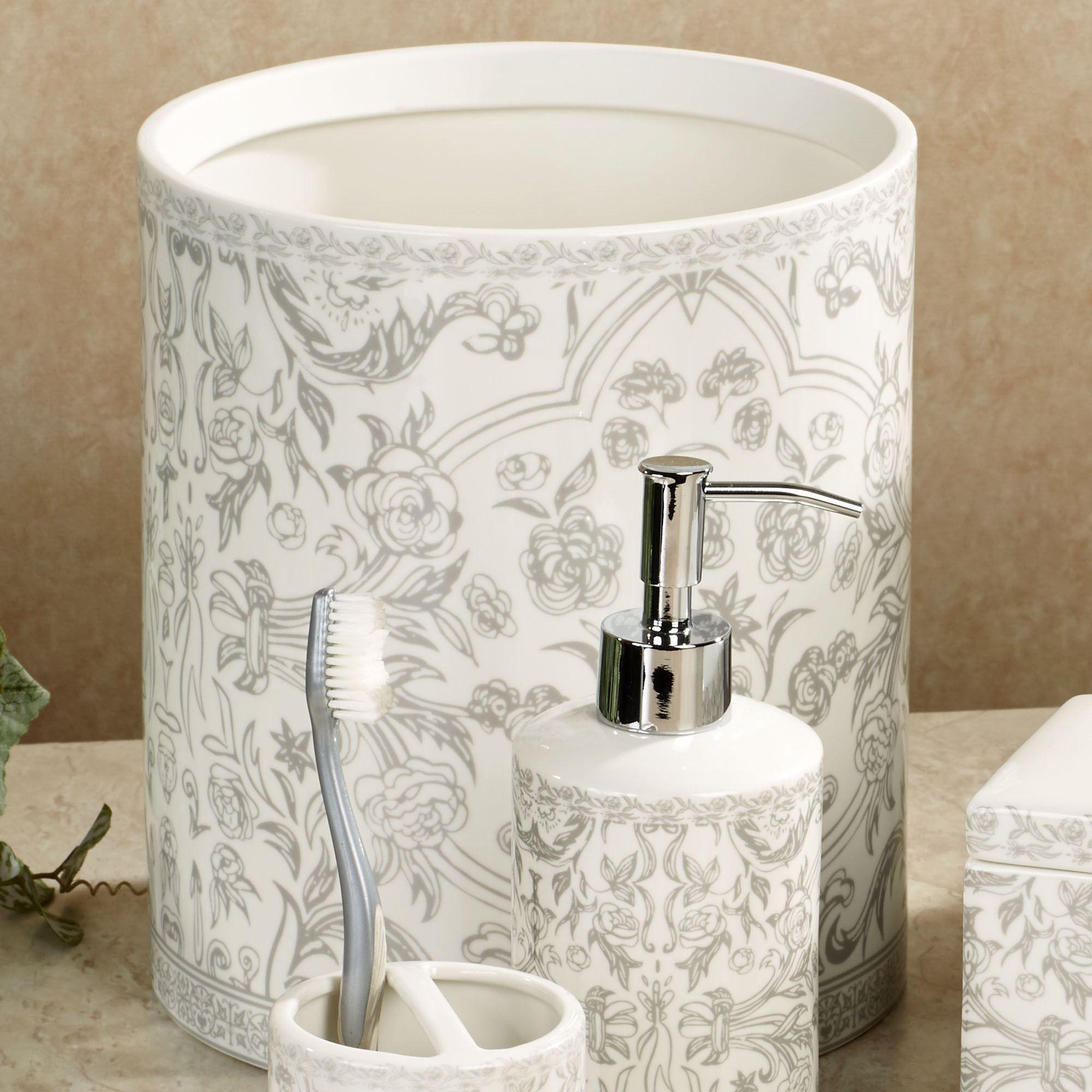 Orsay Gray Toile Porcelain Wastebasket
