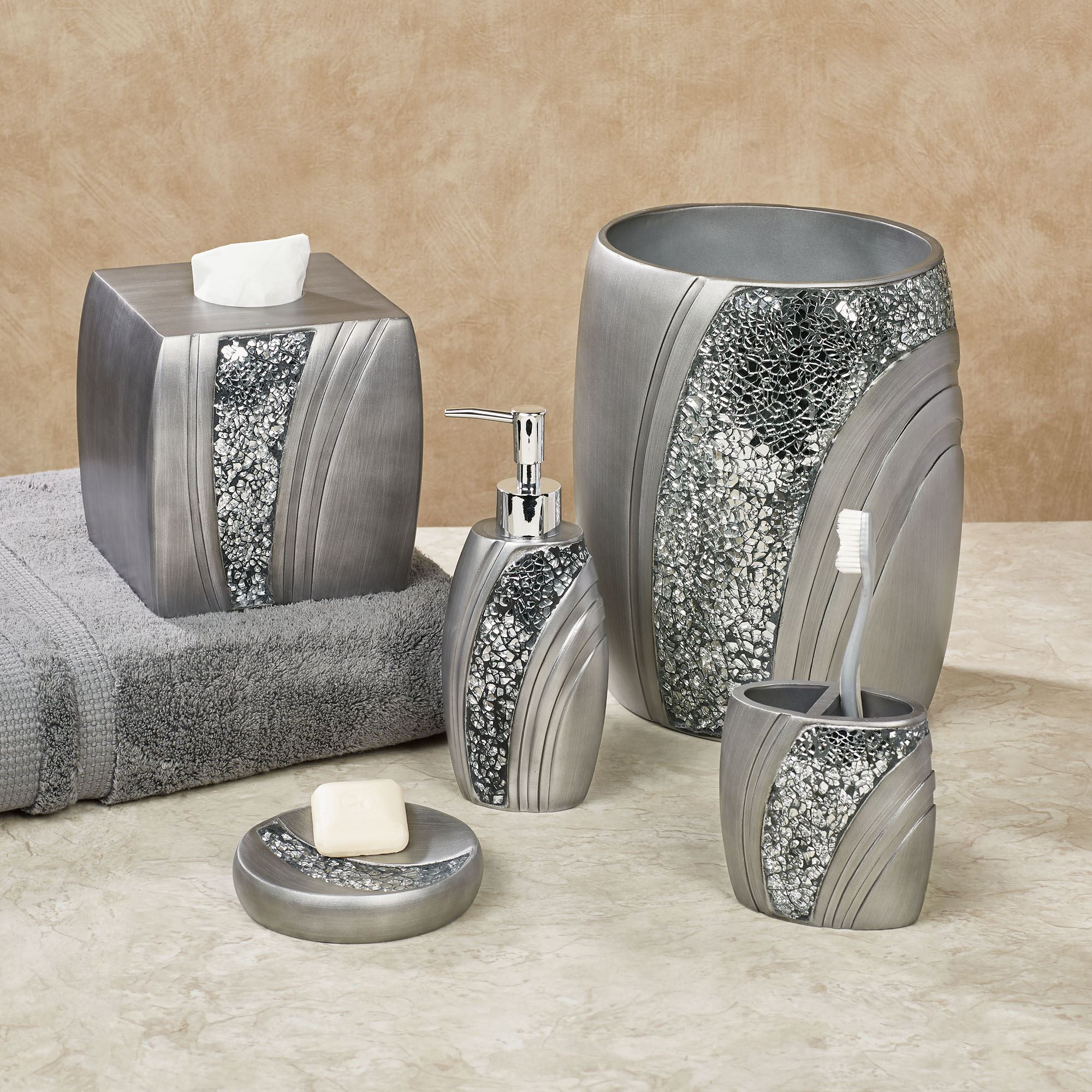 Brilliance mosaic silver gray bath accessories for Silver bathroom set