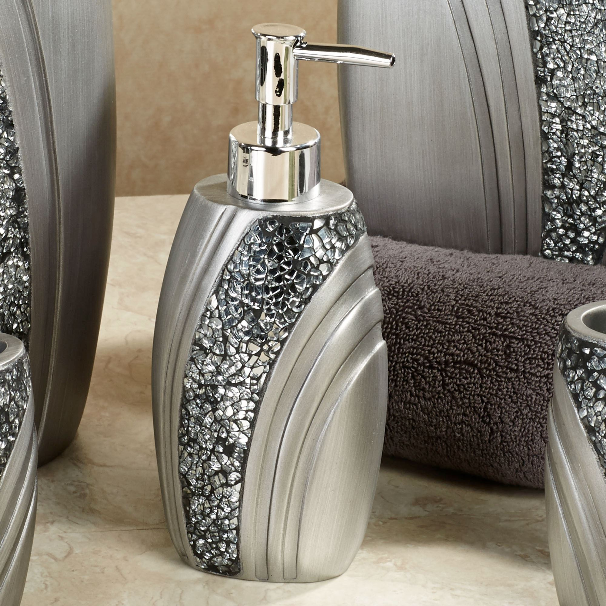 Brilliance Lotion Soap Dispenser Silver Gray