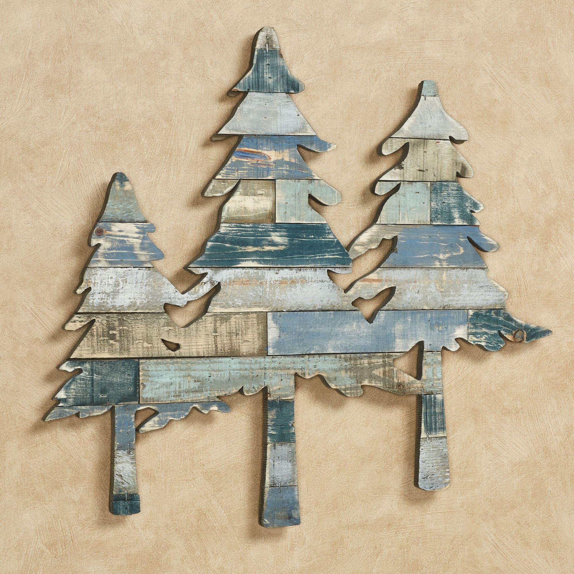 Pine Tree Shaped Slatted Wooden Wall Art