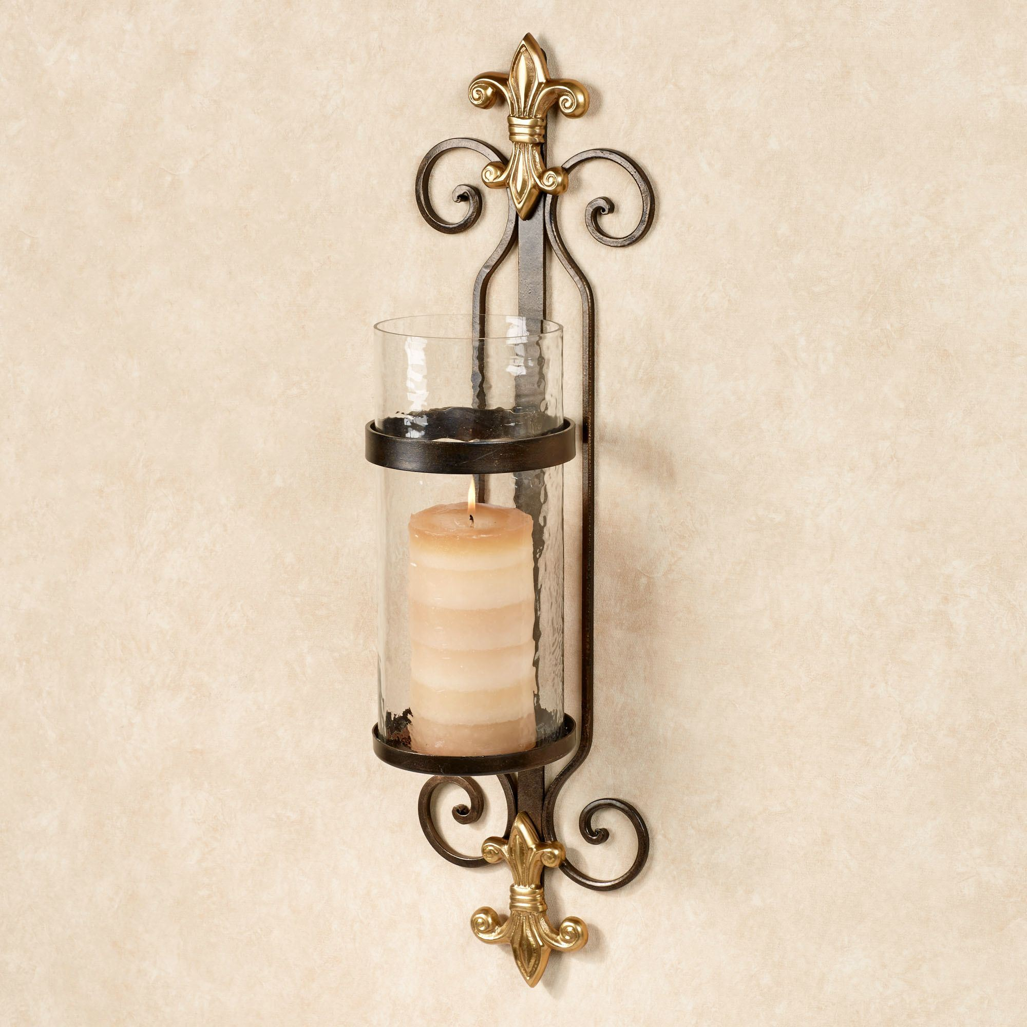Arezzo Fleur De Lis Hurricane Wall Sconce Bronze Touch To Zoom