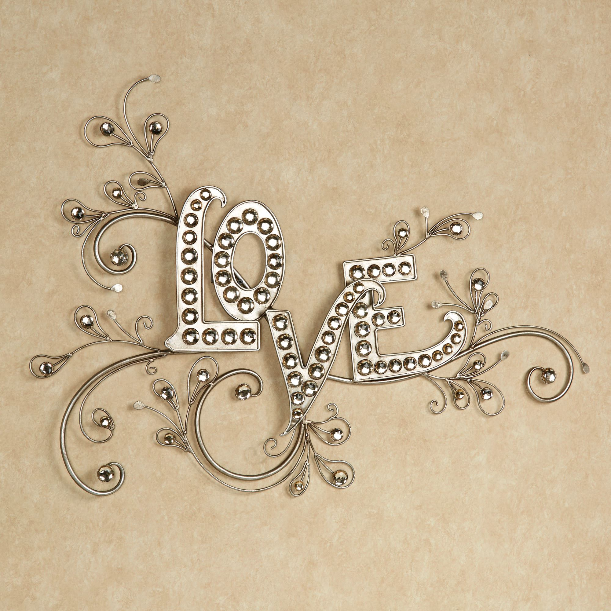 Large Metal Love Wall Art Sparkling Love Gem Word Wall Art