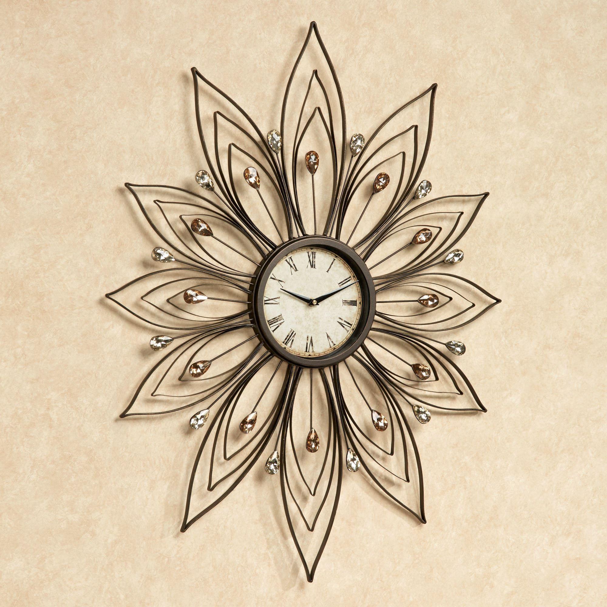 Bejeweled Flower Shaped Metal Wall Clock