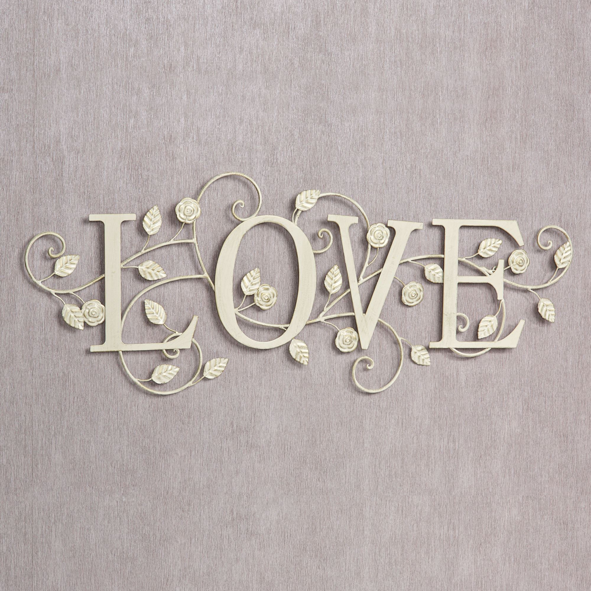 Metal Wall Word Signs Blooms Of Love Metal Word Wall Art
