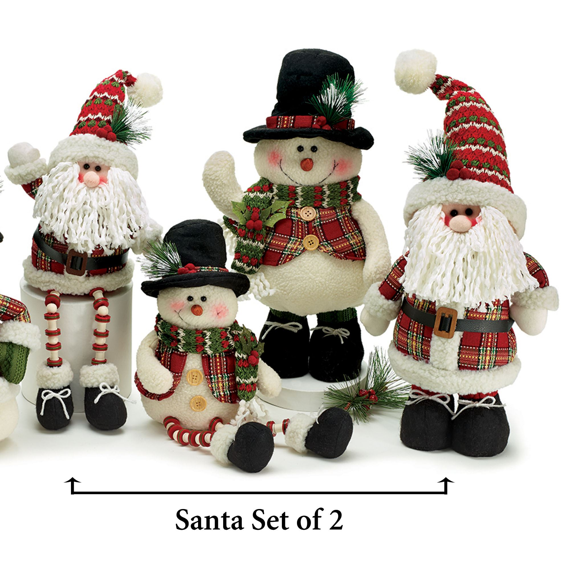 Christmas Plaid Santas Red Set Of Two