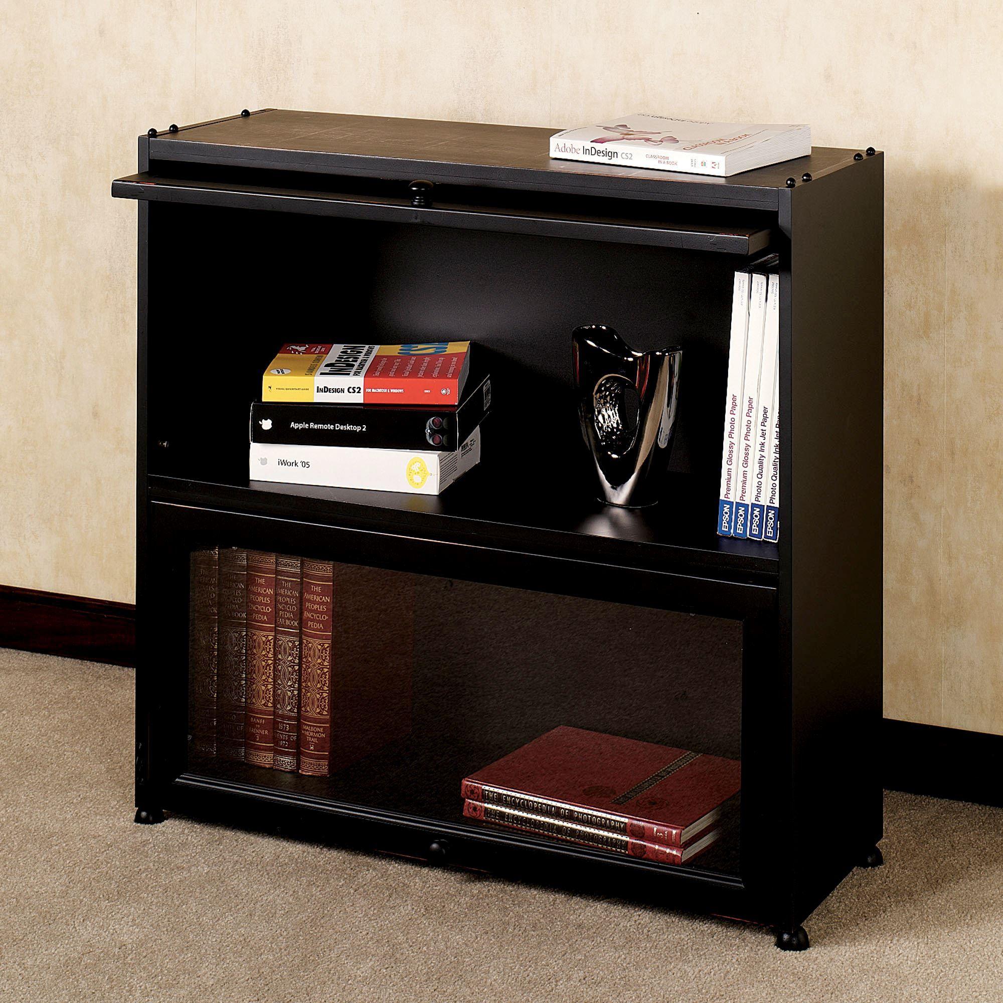 Auston Black Bookcase With Wooden Panel Doors