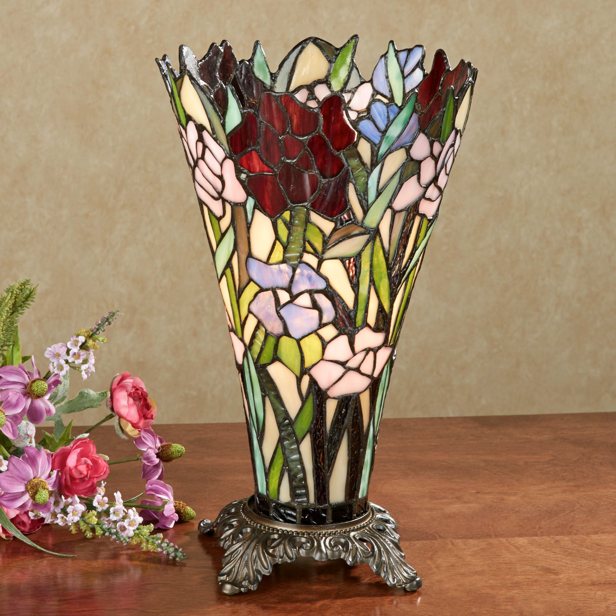 Zuri Vase Shaped Stained Glass Uplight Lamp