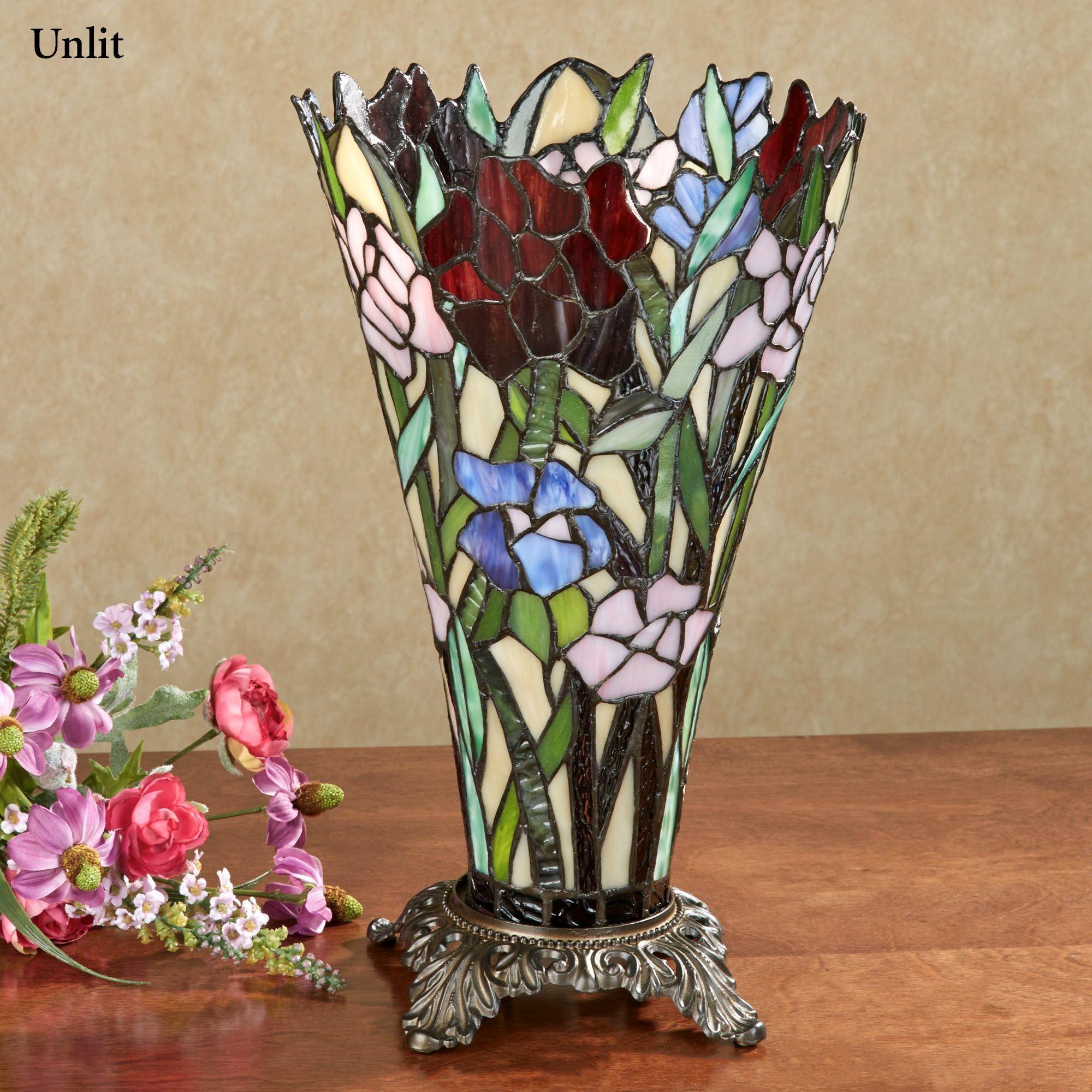 Zuri Vase Shaped Stained Glass Uplight Lamp