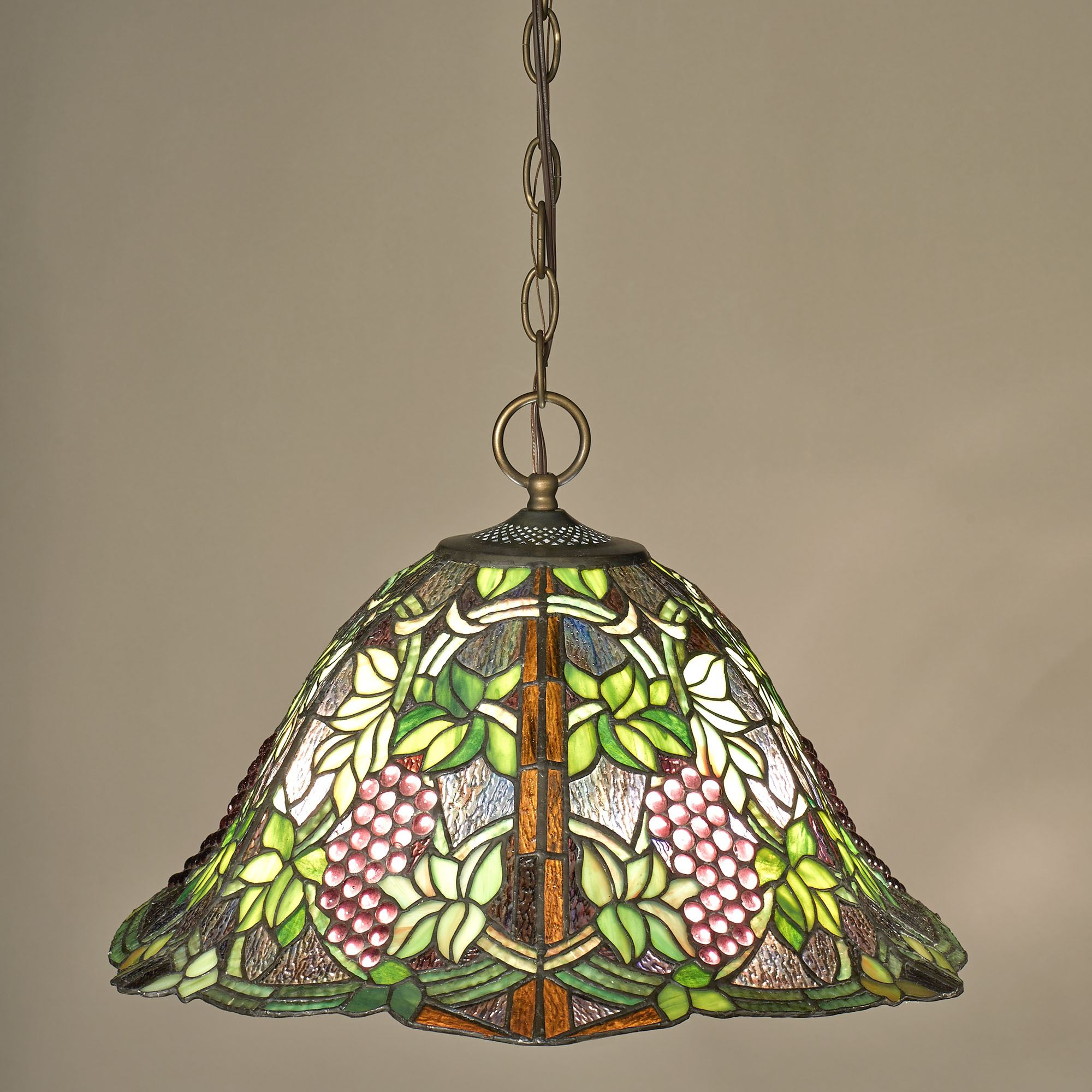 Vintage Grapevine Stained Glass Hanging Ceiling Lamp