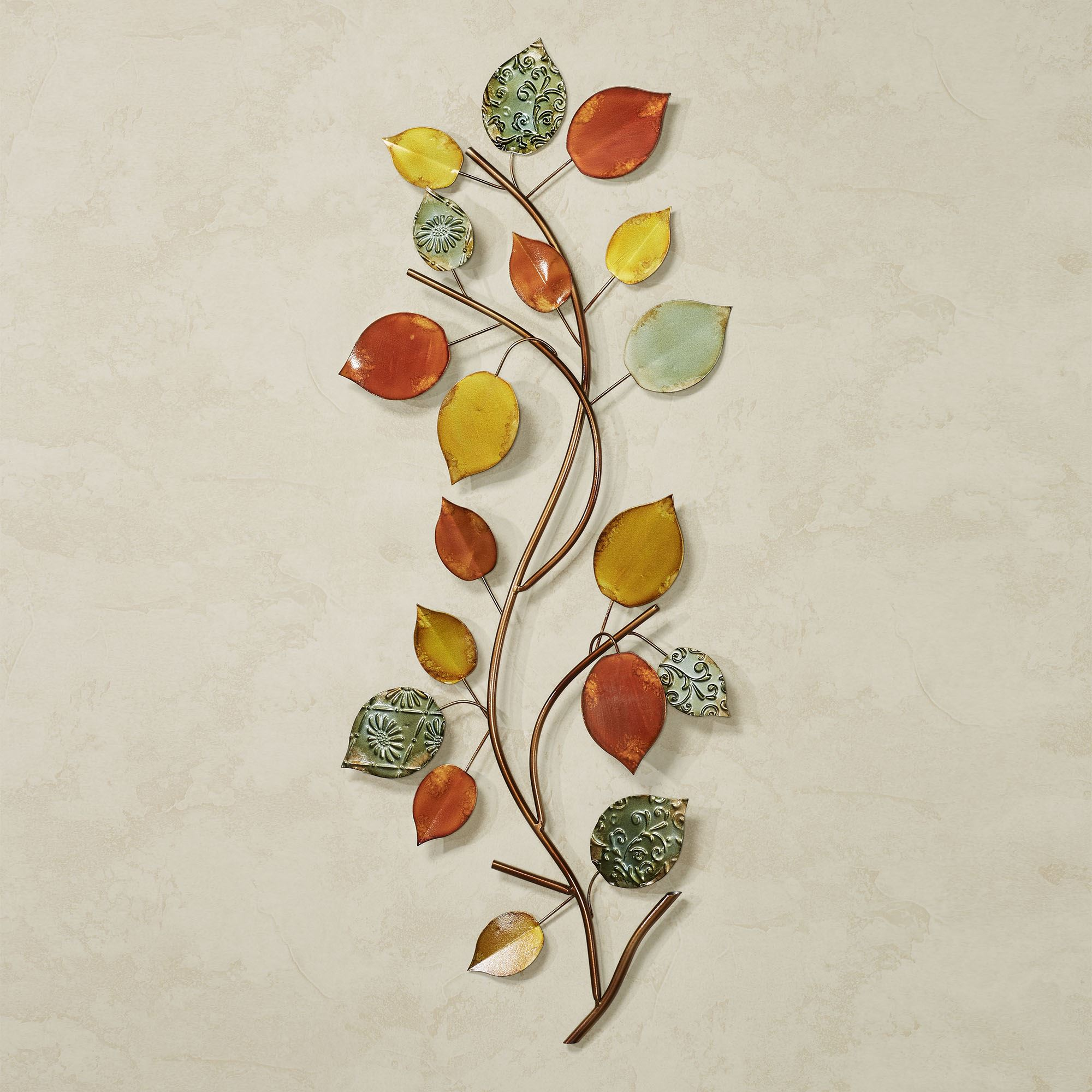 Autumn Array Leaf Branch Metal Wall Art. Autumn Array Wall Art Multi Earth.  Click To Expand