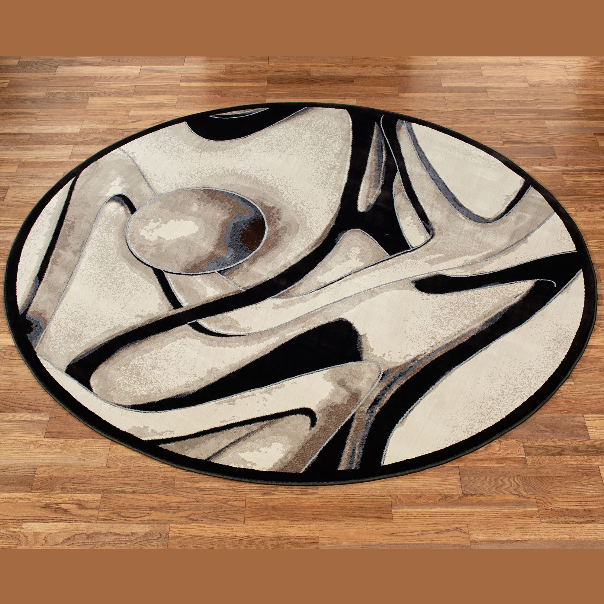 Raven Abstract Contemporary Round Rug