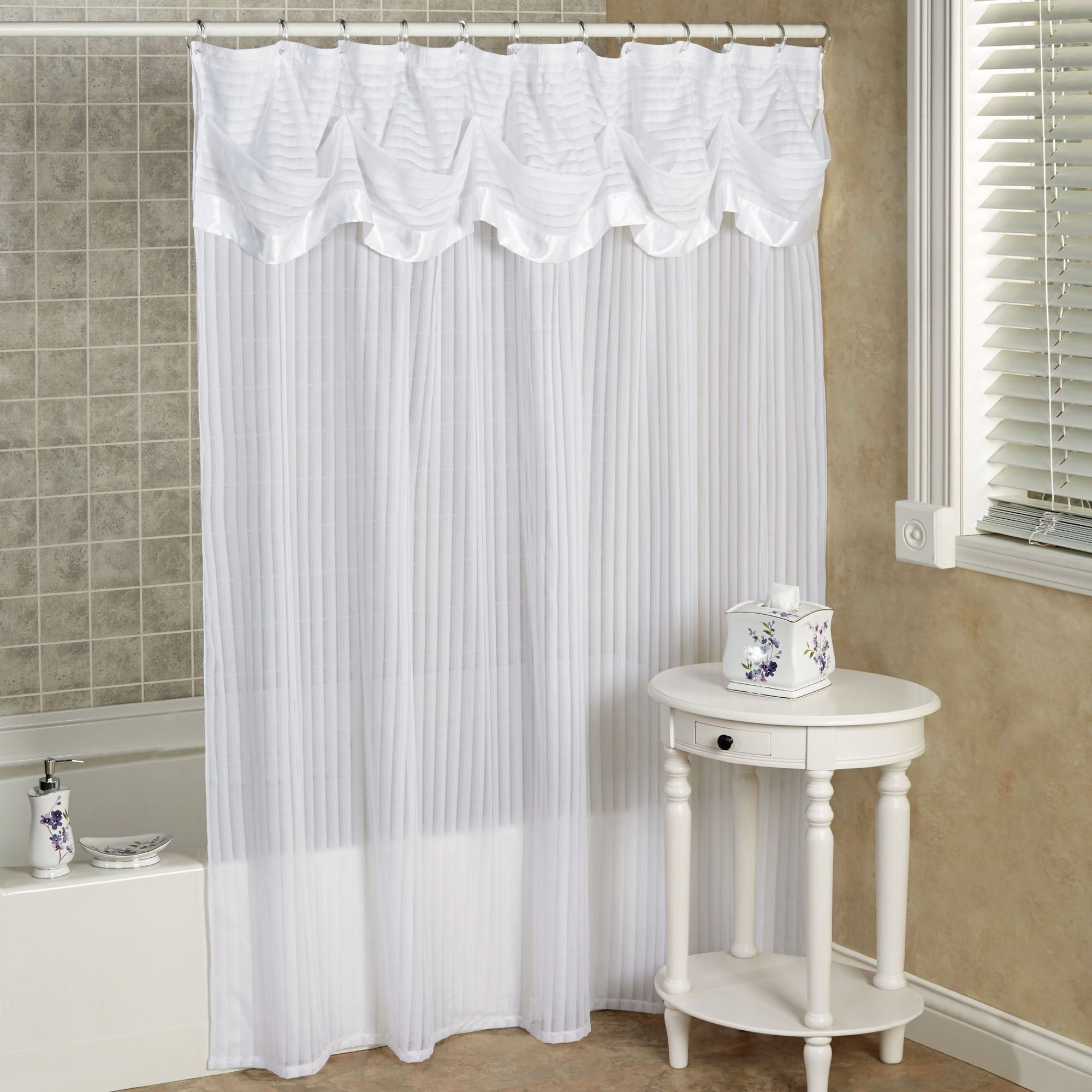 attached ideas chic curtains shower with double swag curtain exquisite and tiebacks valance