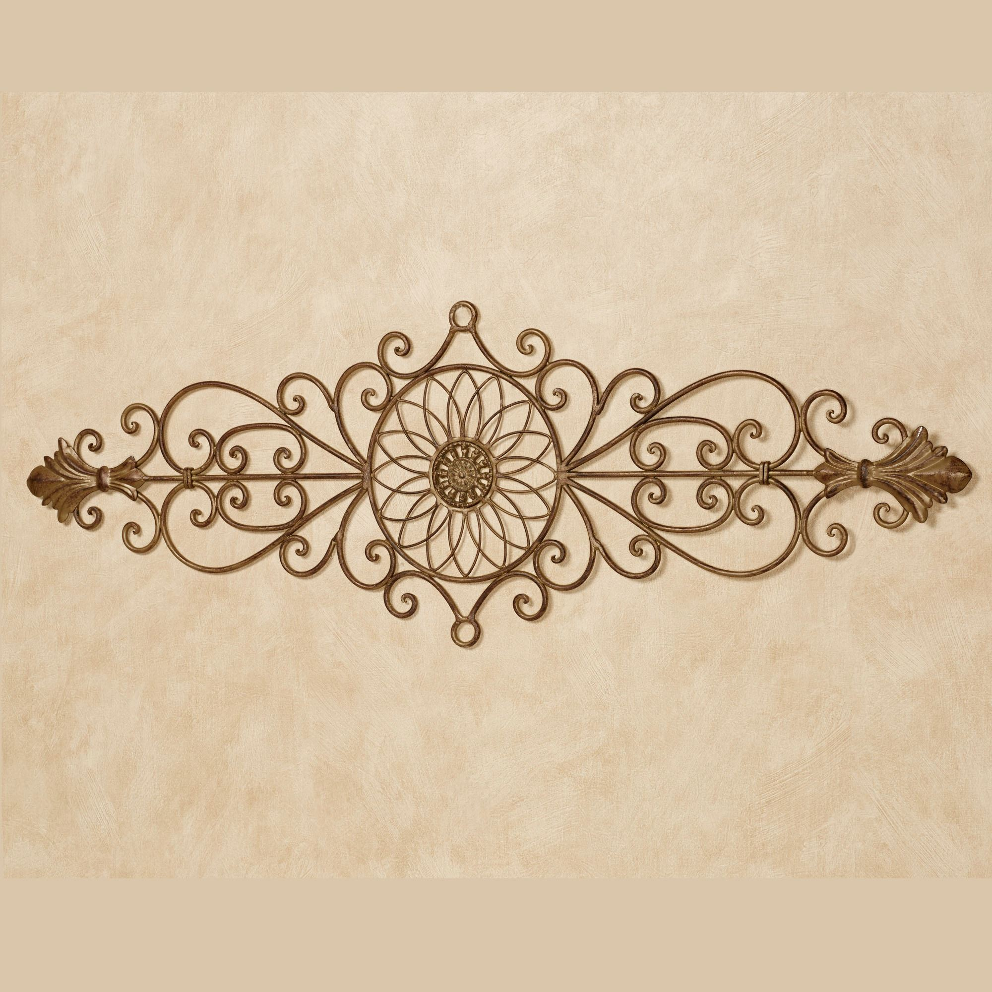 Aria Satin Gold Wrought Iron Indoor Outdoor Wall Grille