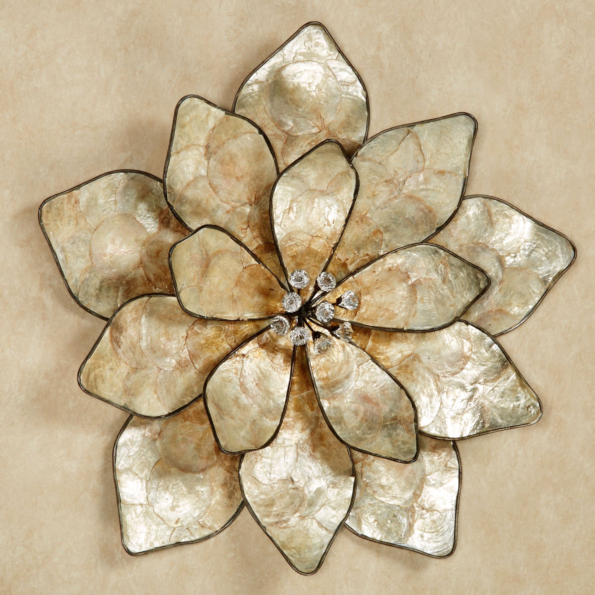 Eloquence bloom capiz shell flower wall art
