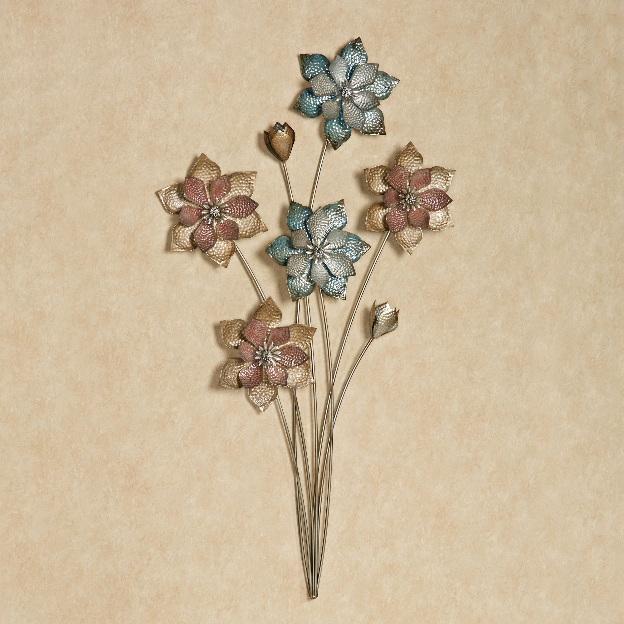 Evening Flowers Metal Wall Art Multi Pastel Click To Expand