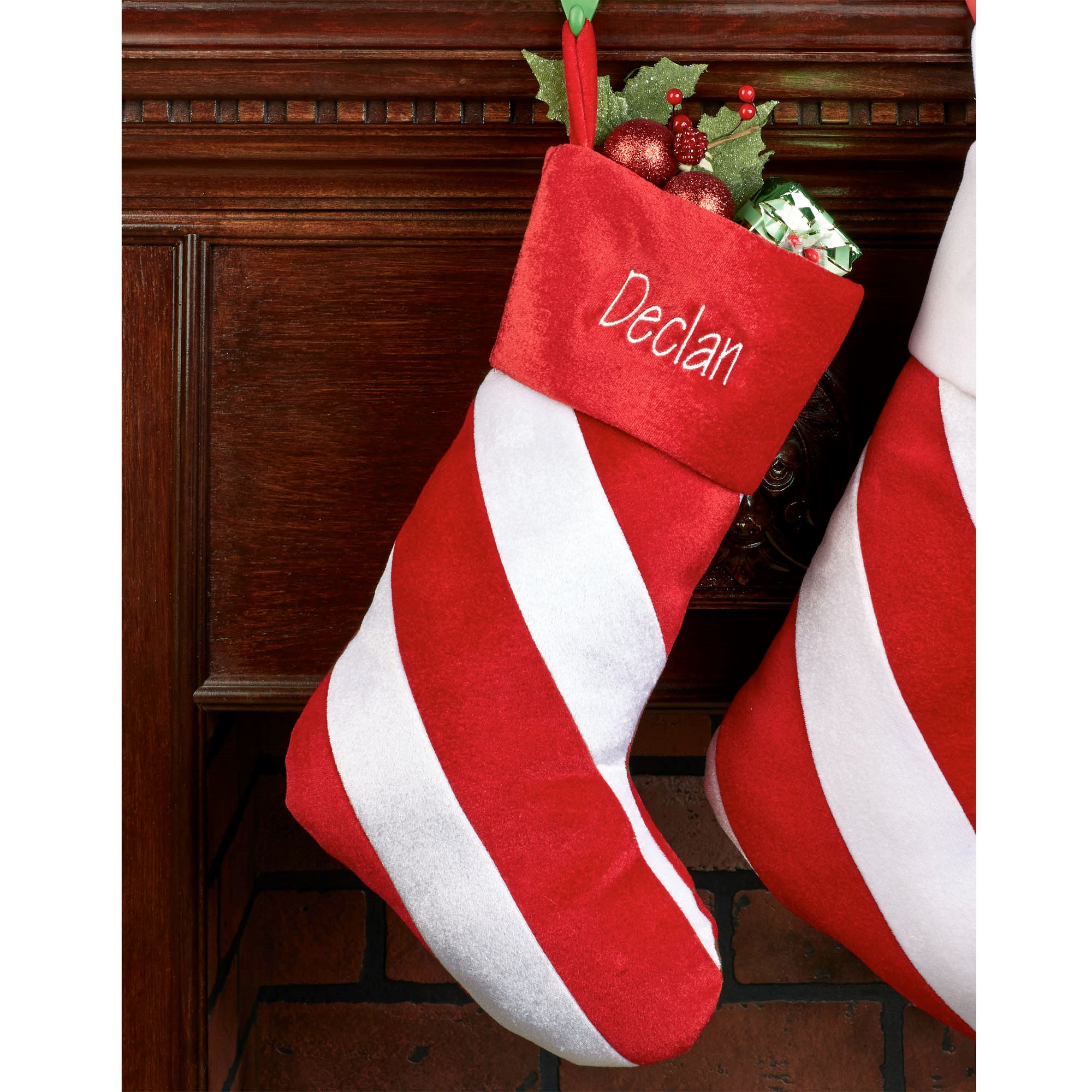 red candy stripe christmas stocking - Striped Christmas Stockings