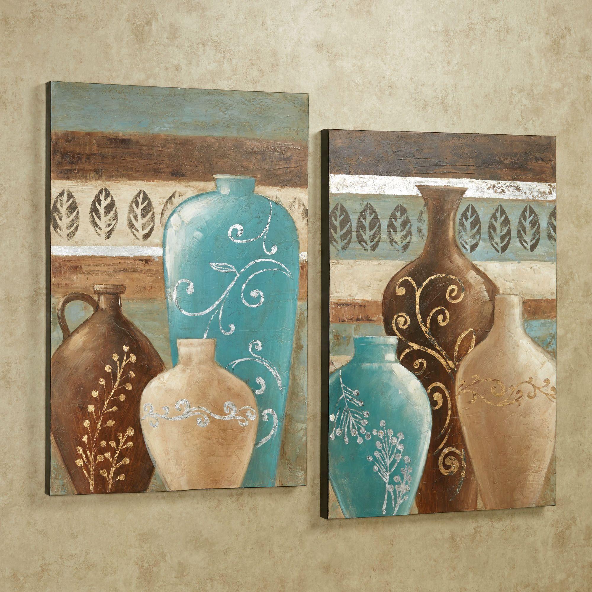 Exotic Vases Handpainted Canvas Wall Art Set