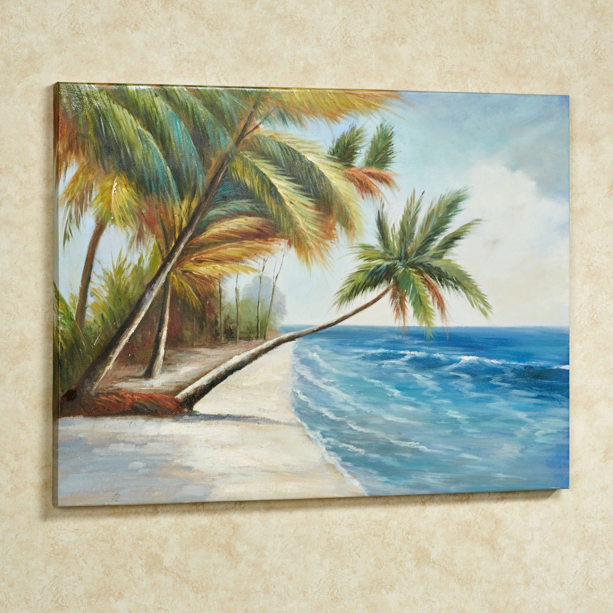 Leaning palms palm tree canvas wall art