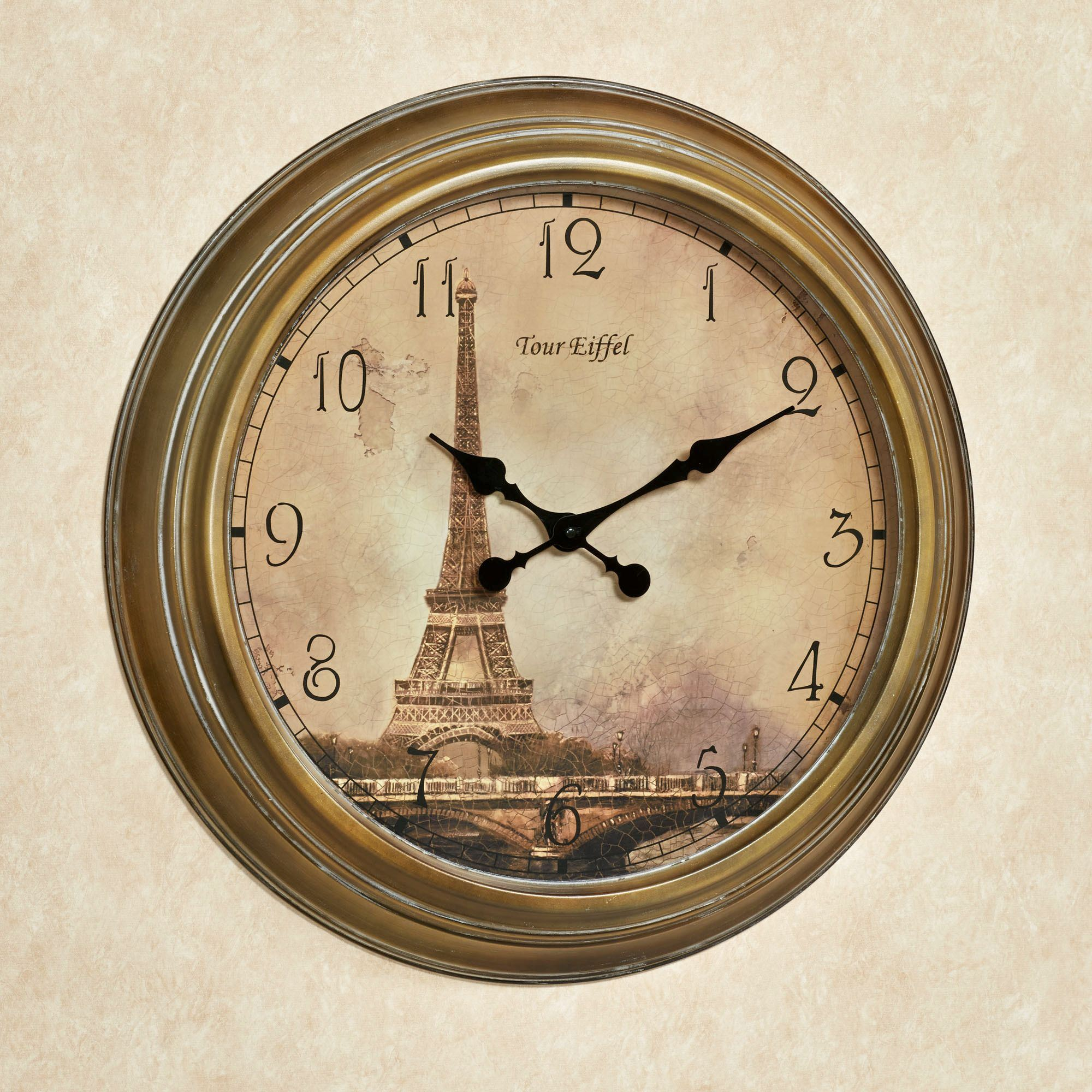 Wall clocks touch of class monument de paris wall clock harvest gold amipublicfo Gallery