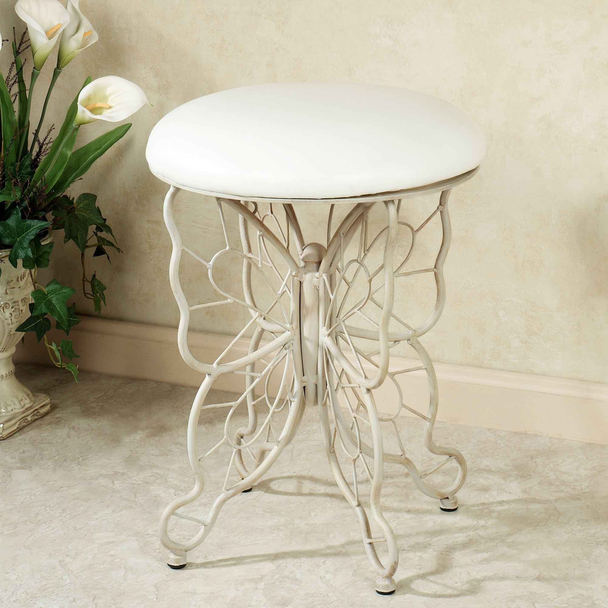 Butterfly Grace Cushioned Vanity Stool Whitewash. Click To Expand