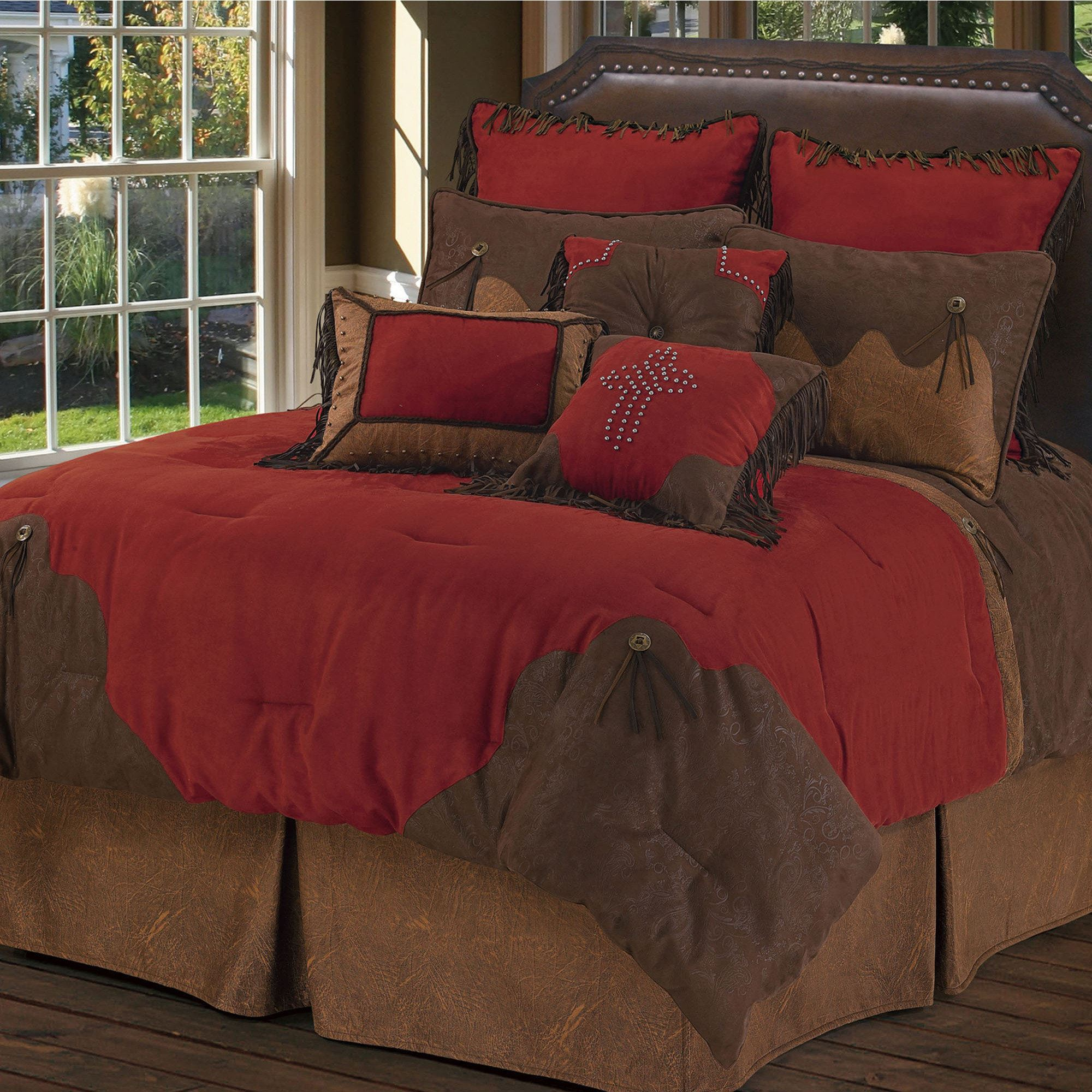 Red Rodeo Western Comforter Bed Set