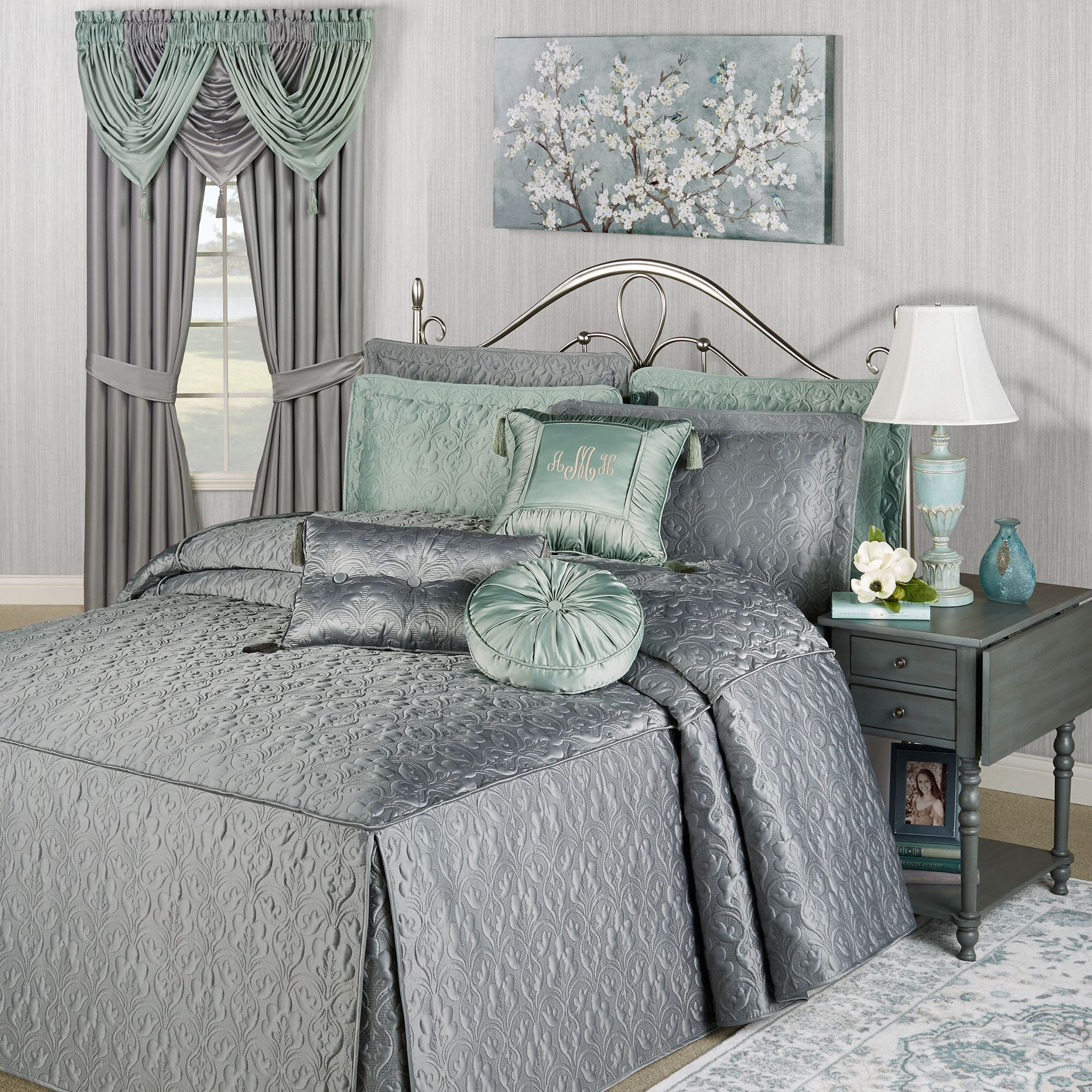 Cambridge Classics Warm Gray Fitted Quilted Oversized Bedspread Bedding
