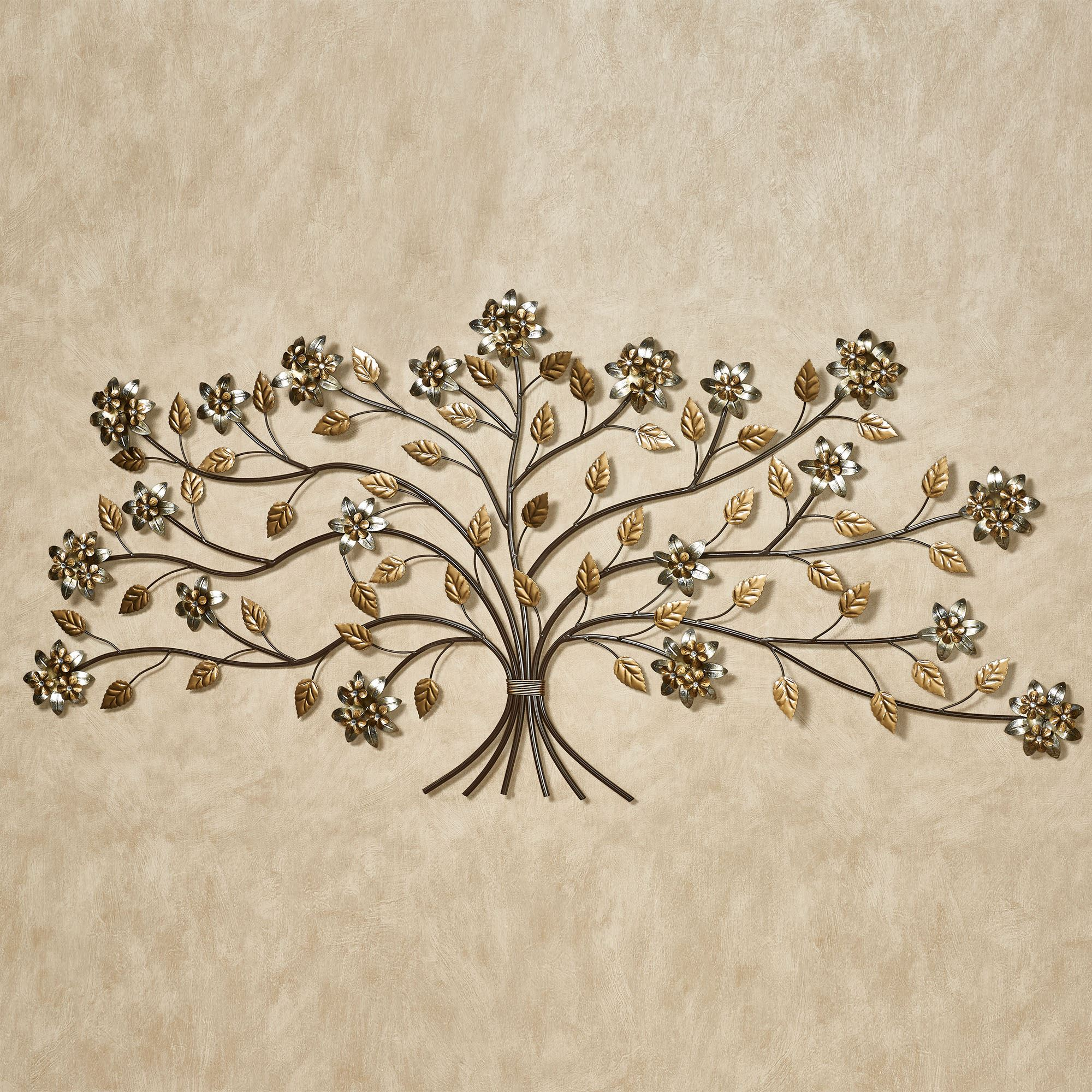 Bellissa floral branch metal wall art 59 inches wide for Wire wall art
