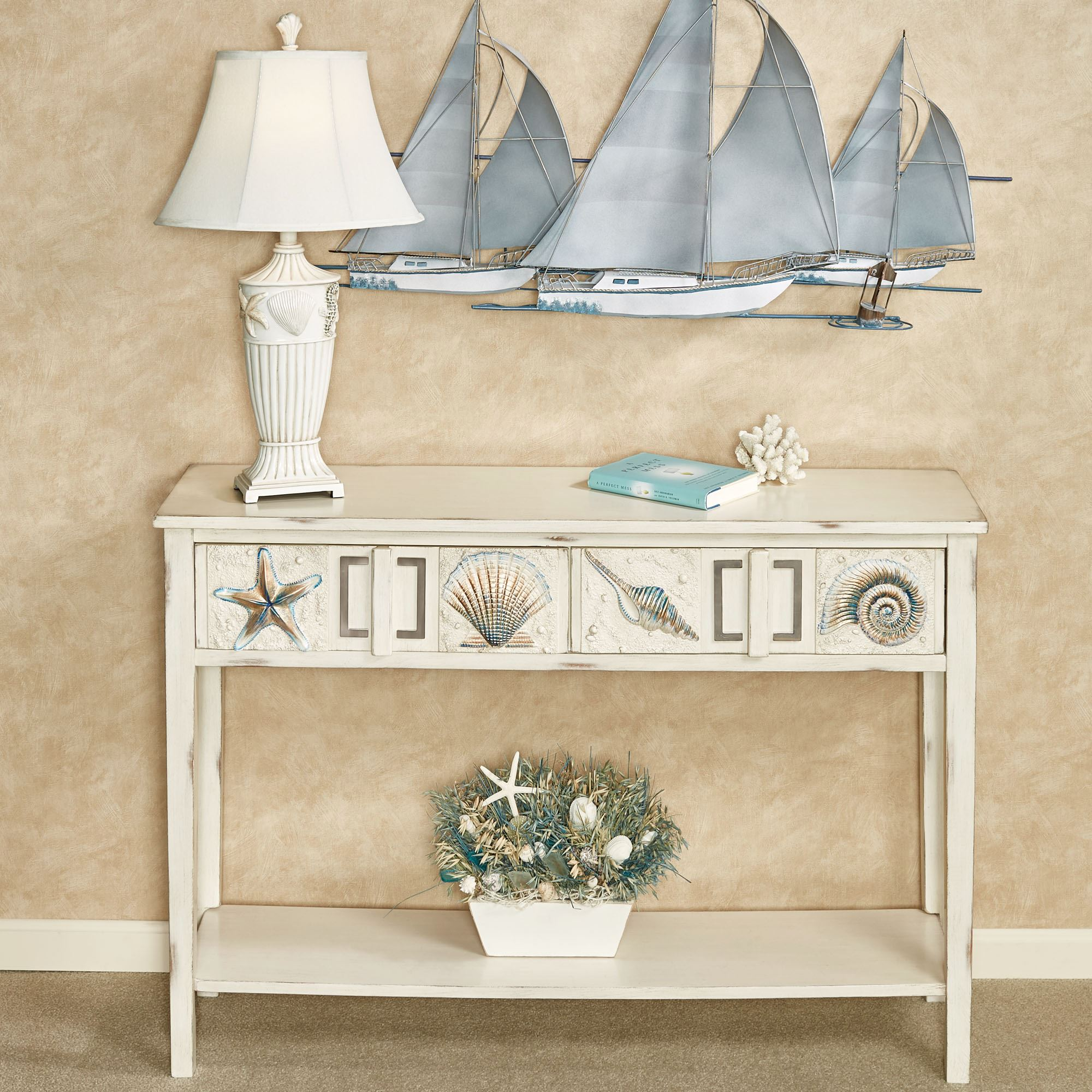 Caspian cove ivory coastal console table with drawers for Sofa table vs console table