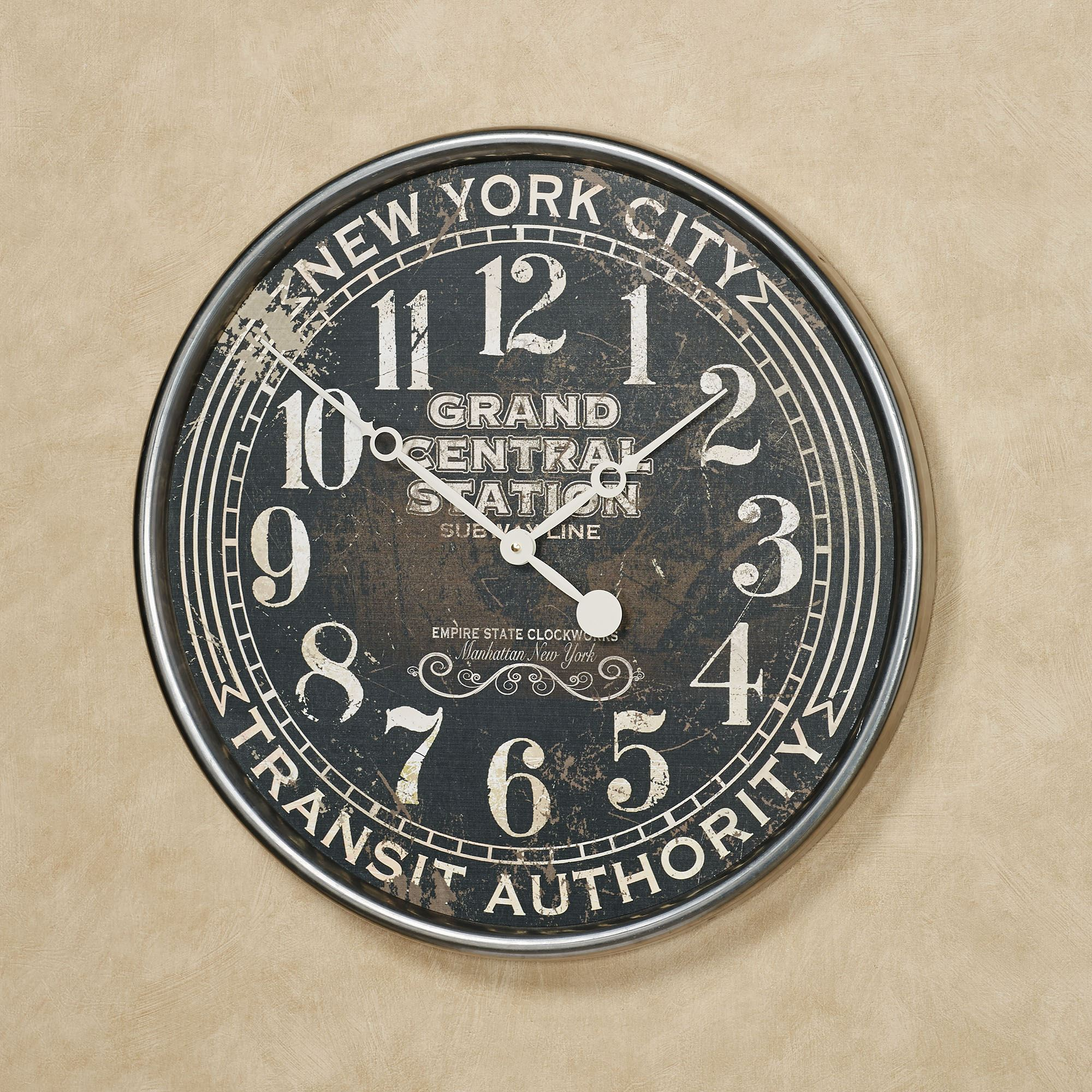 Vintage Style Wall Clock Subway Black Touch To Zoom