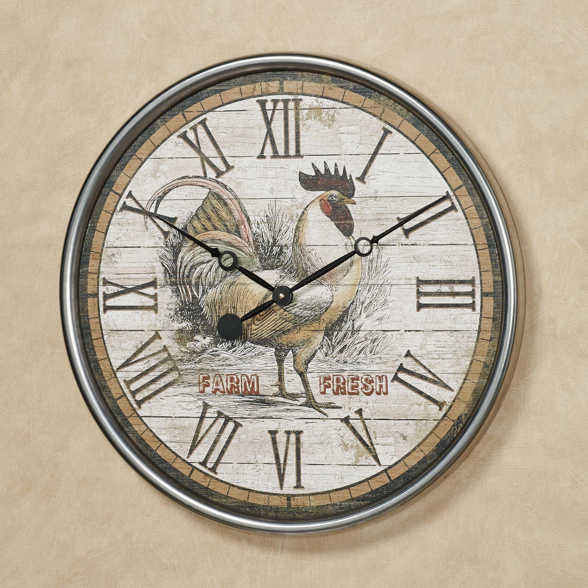 Farm Fresh Rooster Wall Clock