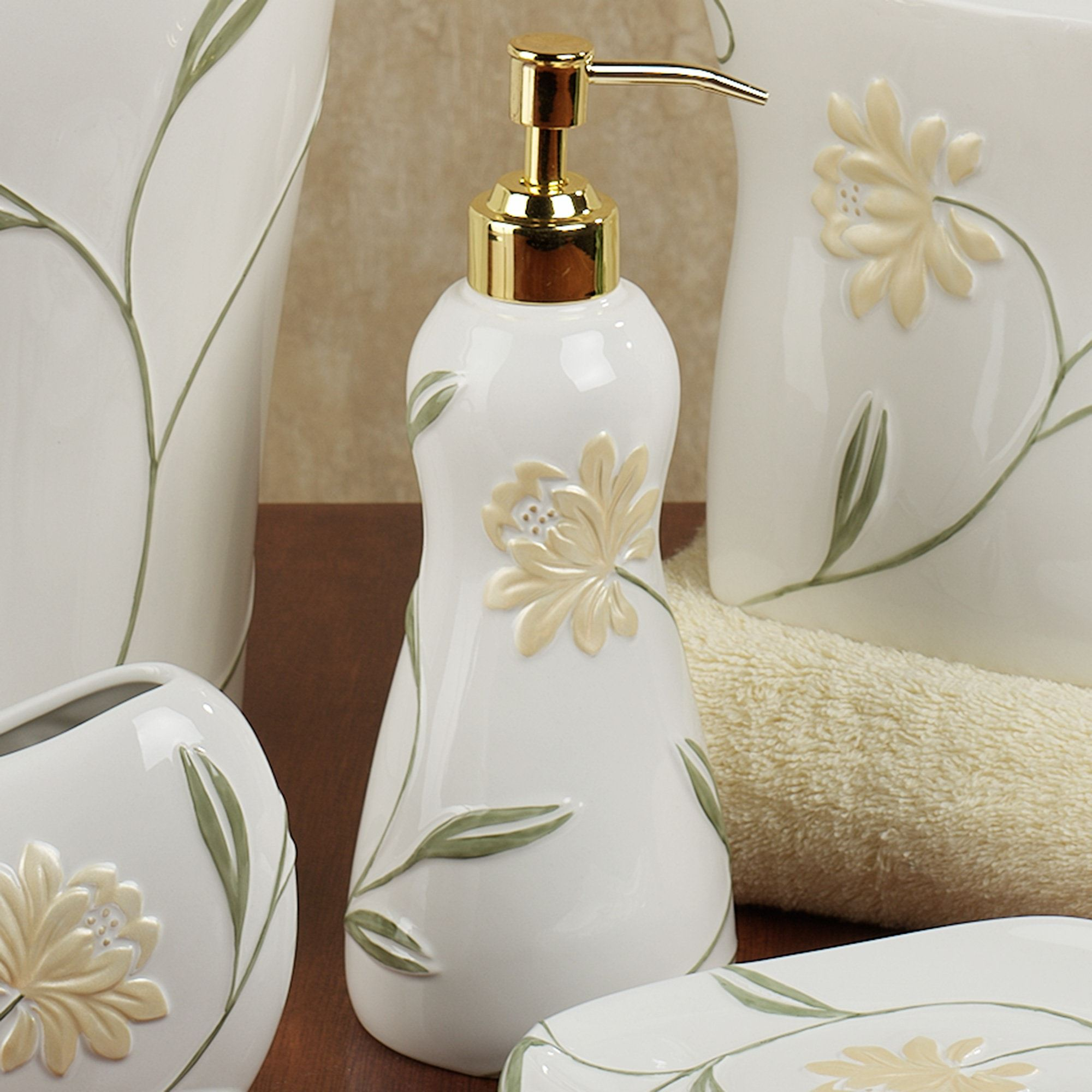Penelope bath accessories by croscill - Bathroom soap and lotion dispenser set ...