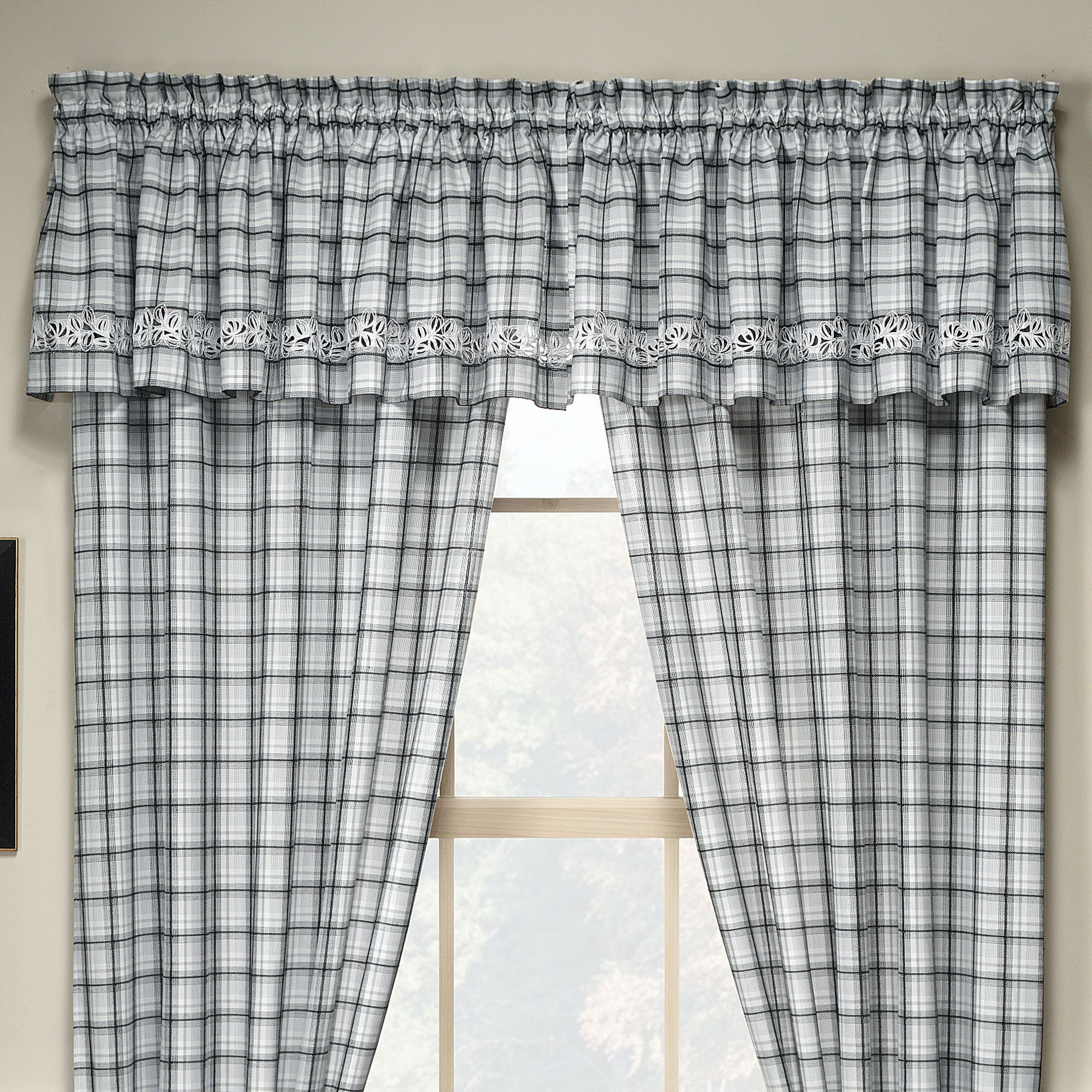 with shades place valances curtain valance interior brown room windows living white plaid patterned fire window roller ethnic colorful combined between bay beautiful and for