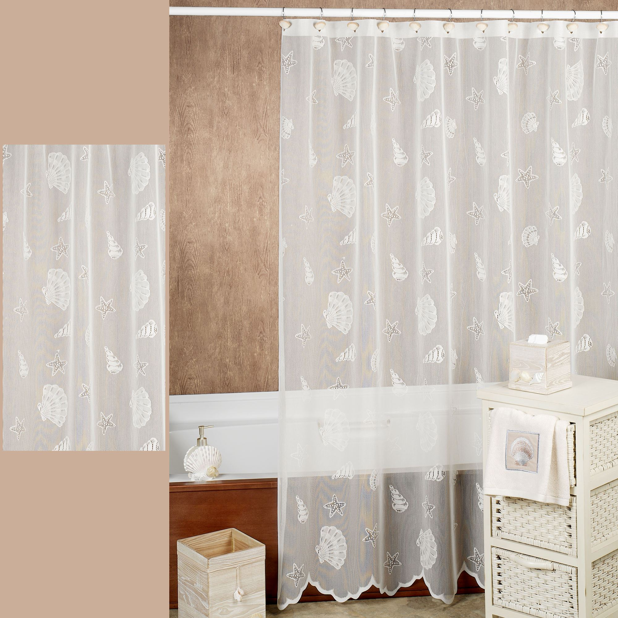 Touch To Zoom · Seashells Lace Shower Curtain ...