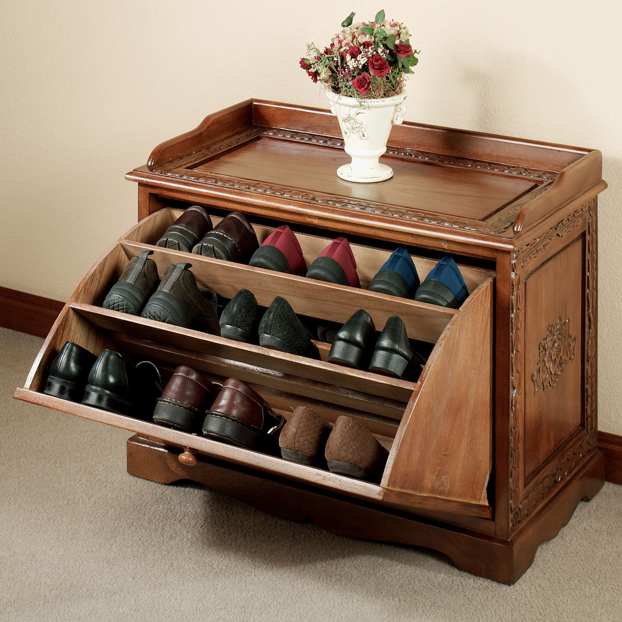 Victoriana Shoe Storage Bench Natural Cherry. Touch To Zoom